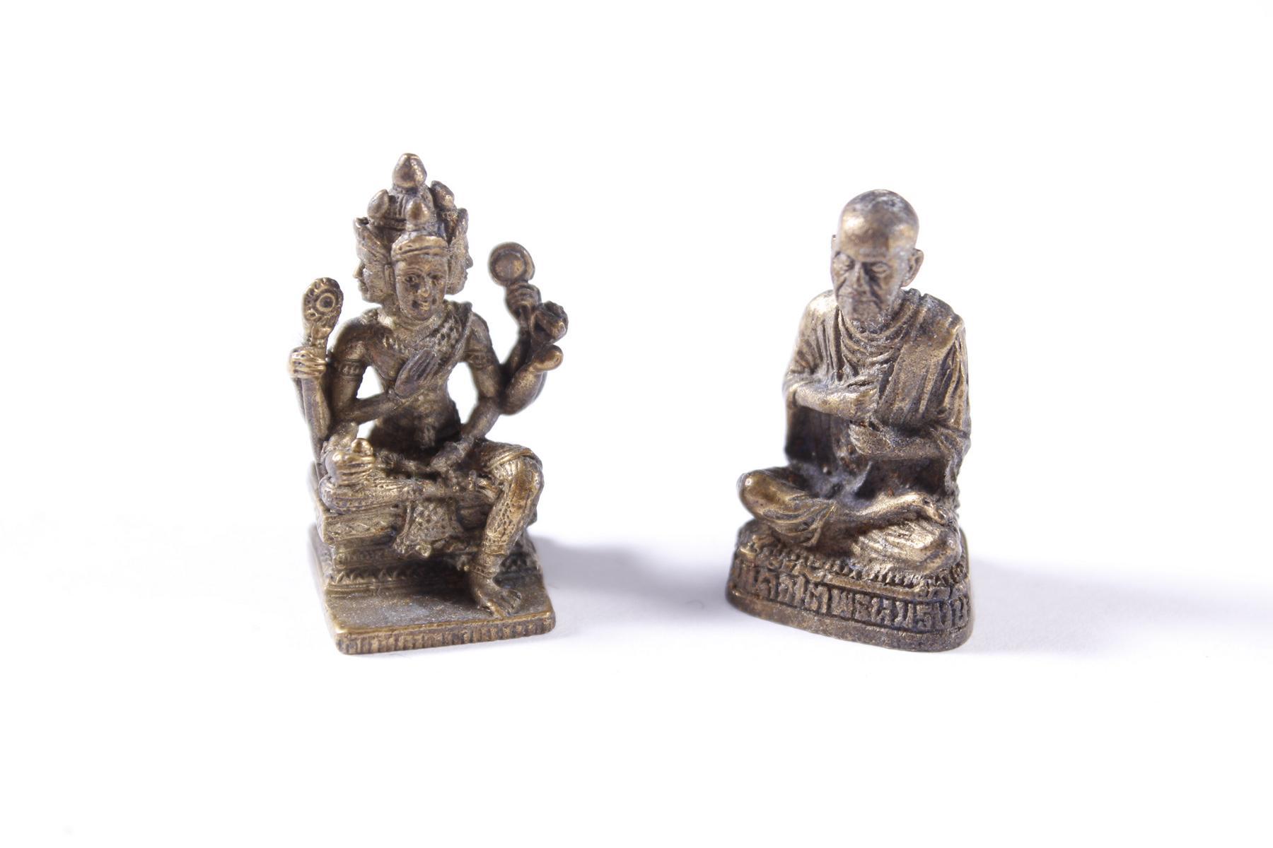 2 Miniatur-Buddhas aus Bronze, Tibet 20. Jahrhundert