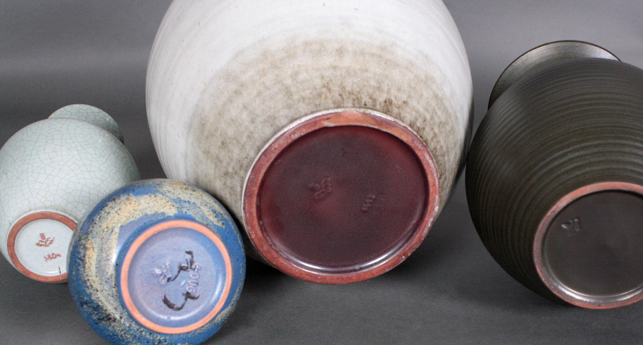 4 Keramik-Vasen, Karlsruhe Majolika-2