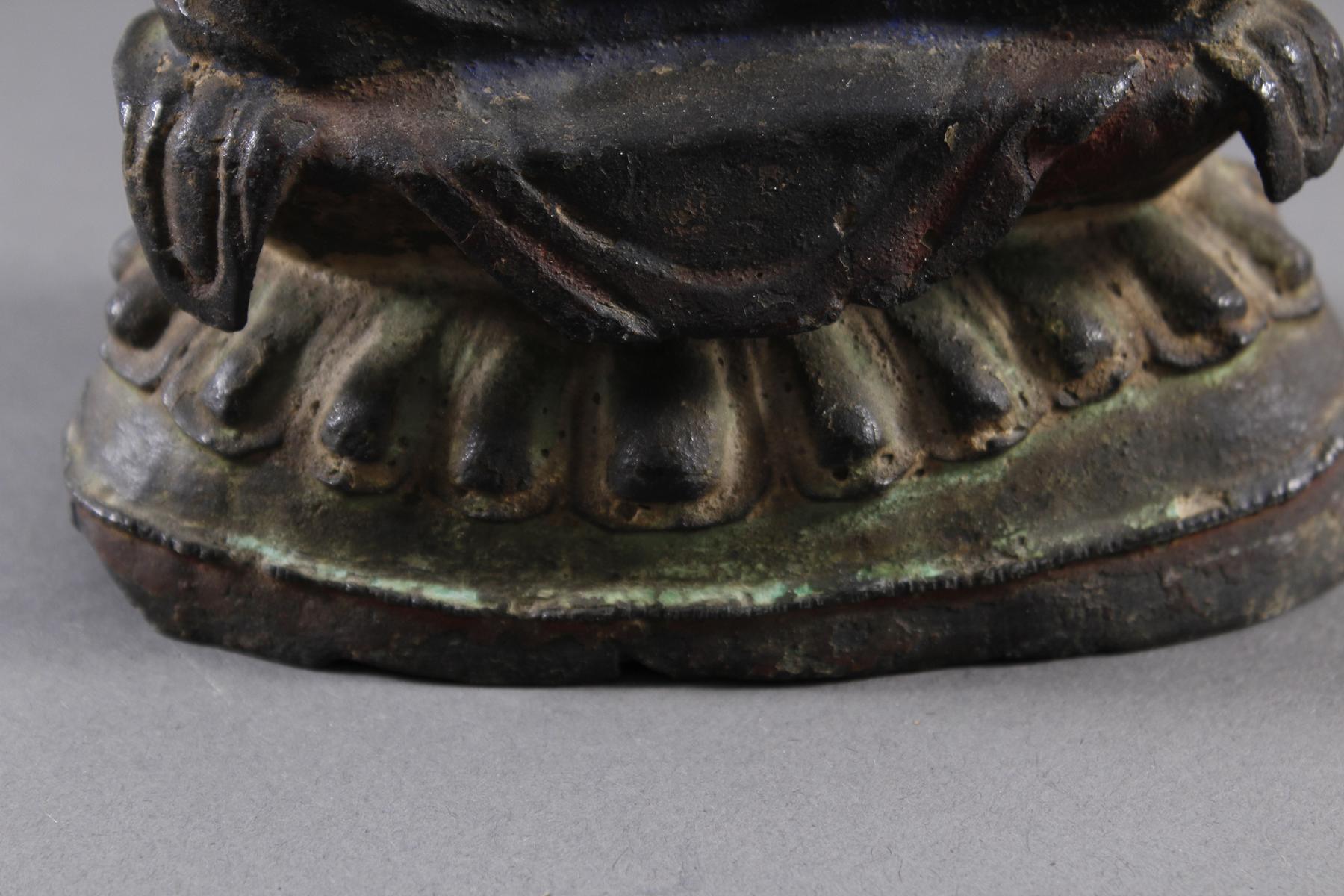 Guanyin, Bronze, China Ming Zeit. Im Meditationssitz auf einem Lotos-6