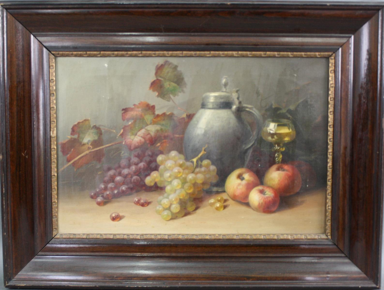 Stillleben mit Zinnkrug und Früchte,  19. Jahrhundert
