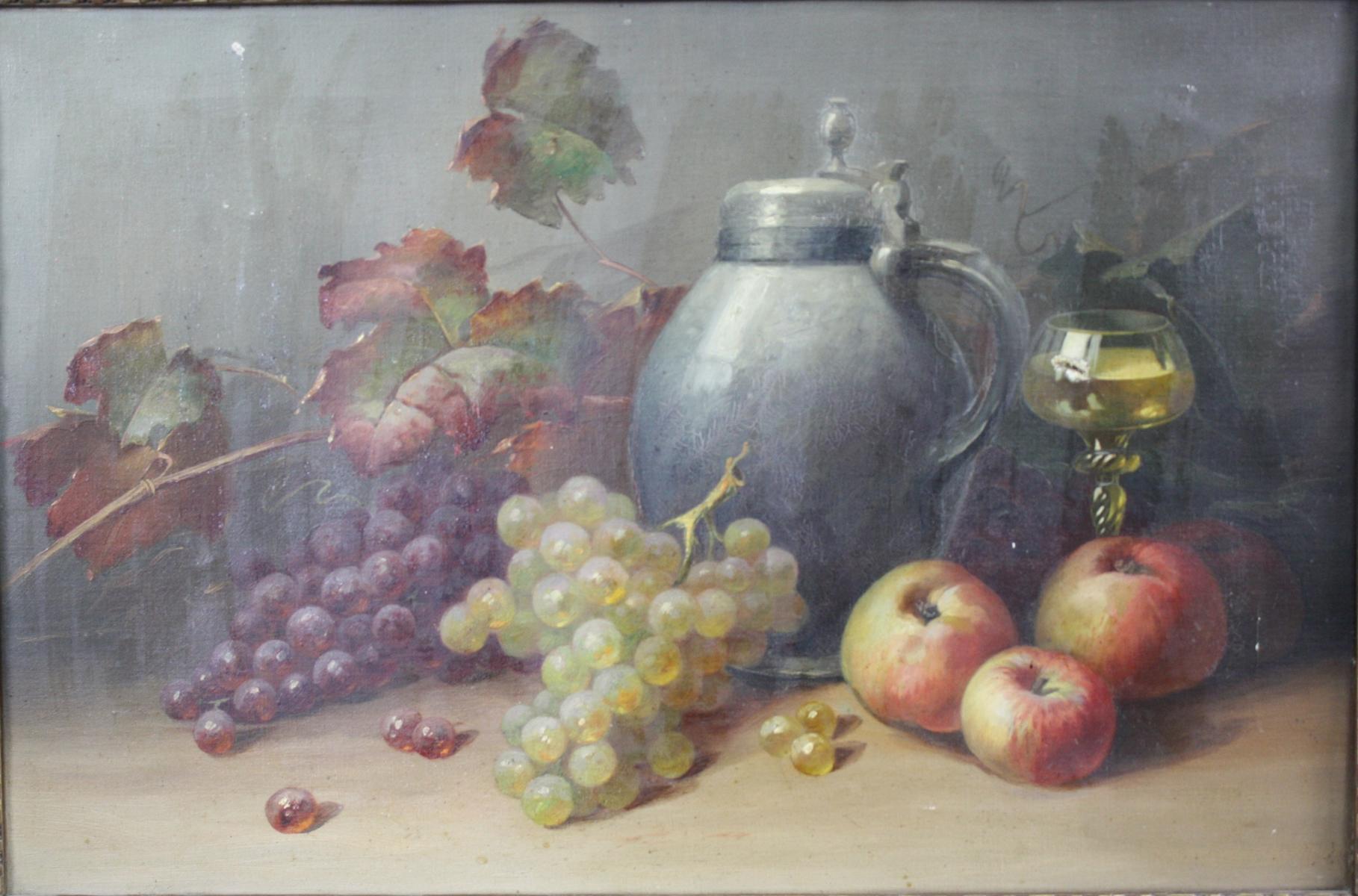 Stillleben mit Zinnkrug und Früchte,  19. Jahrhundert-2