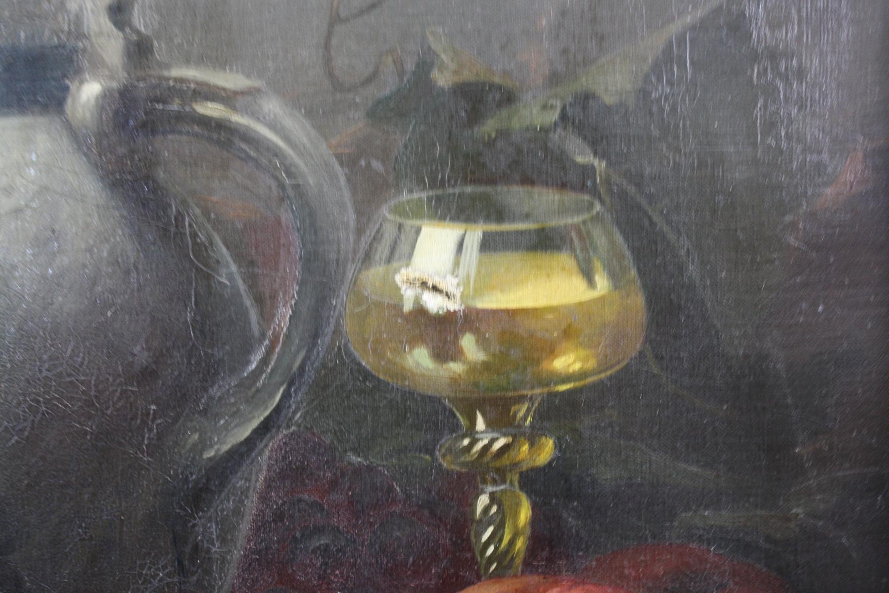 Stillleben mit Zinnkrug und Früchte,  19. Jahrhundert-4