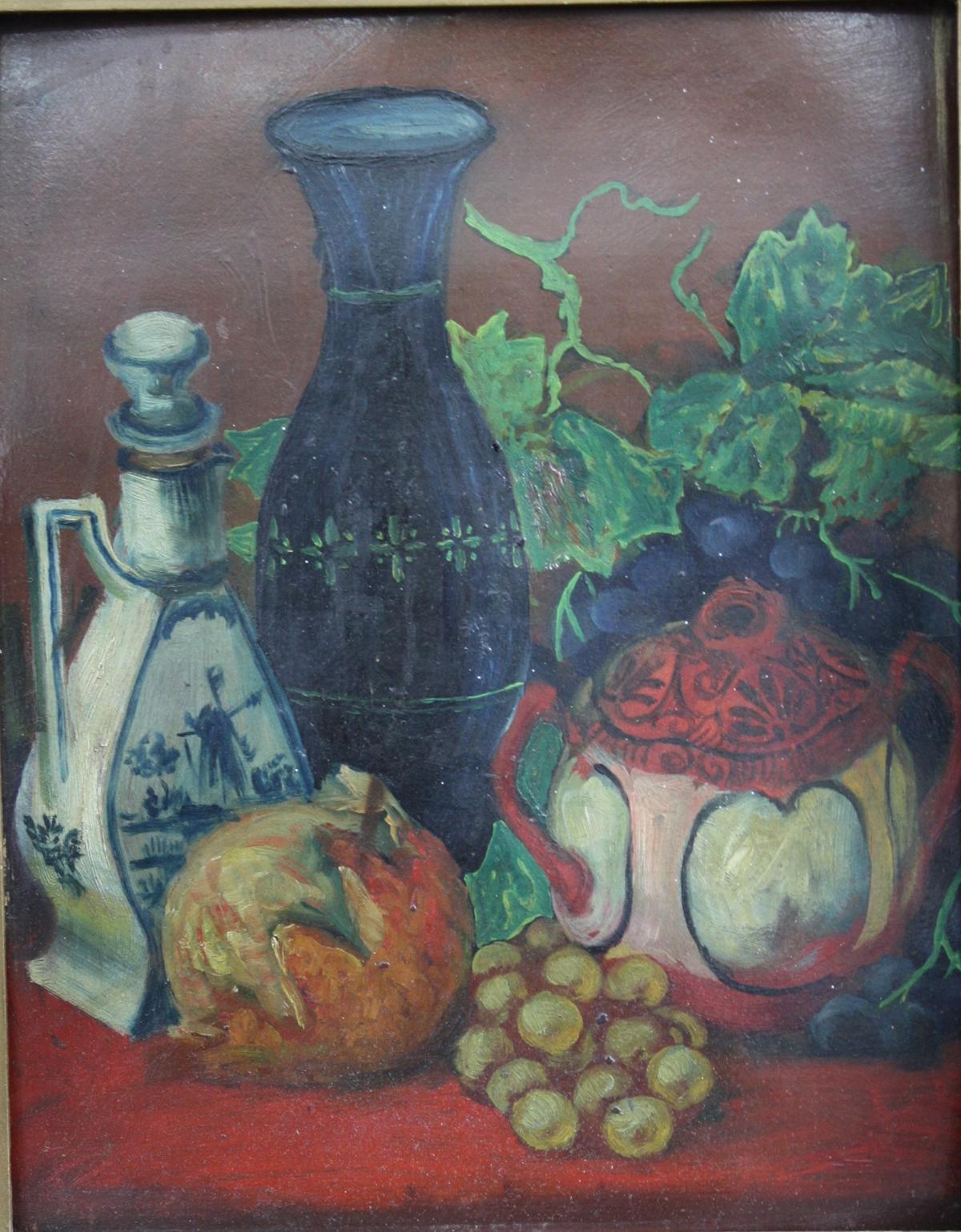 Stillleben, Früchte und Krüge-2