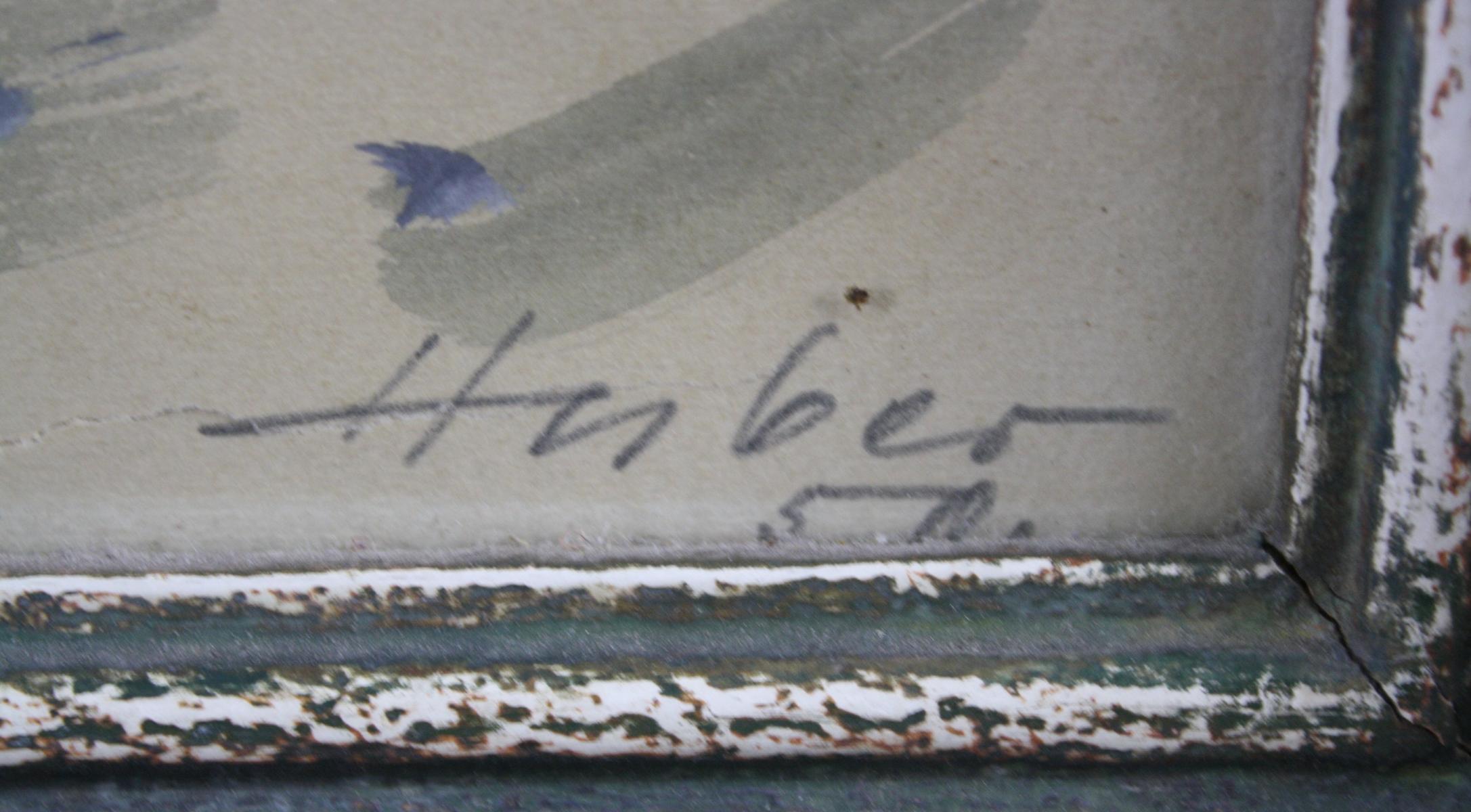 Blumenstillleben. Signiert Huber-3
