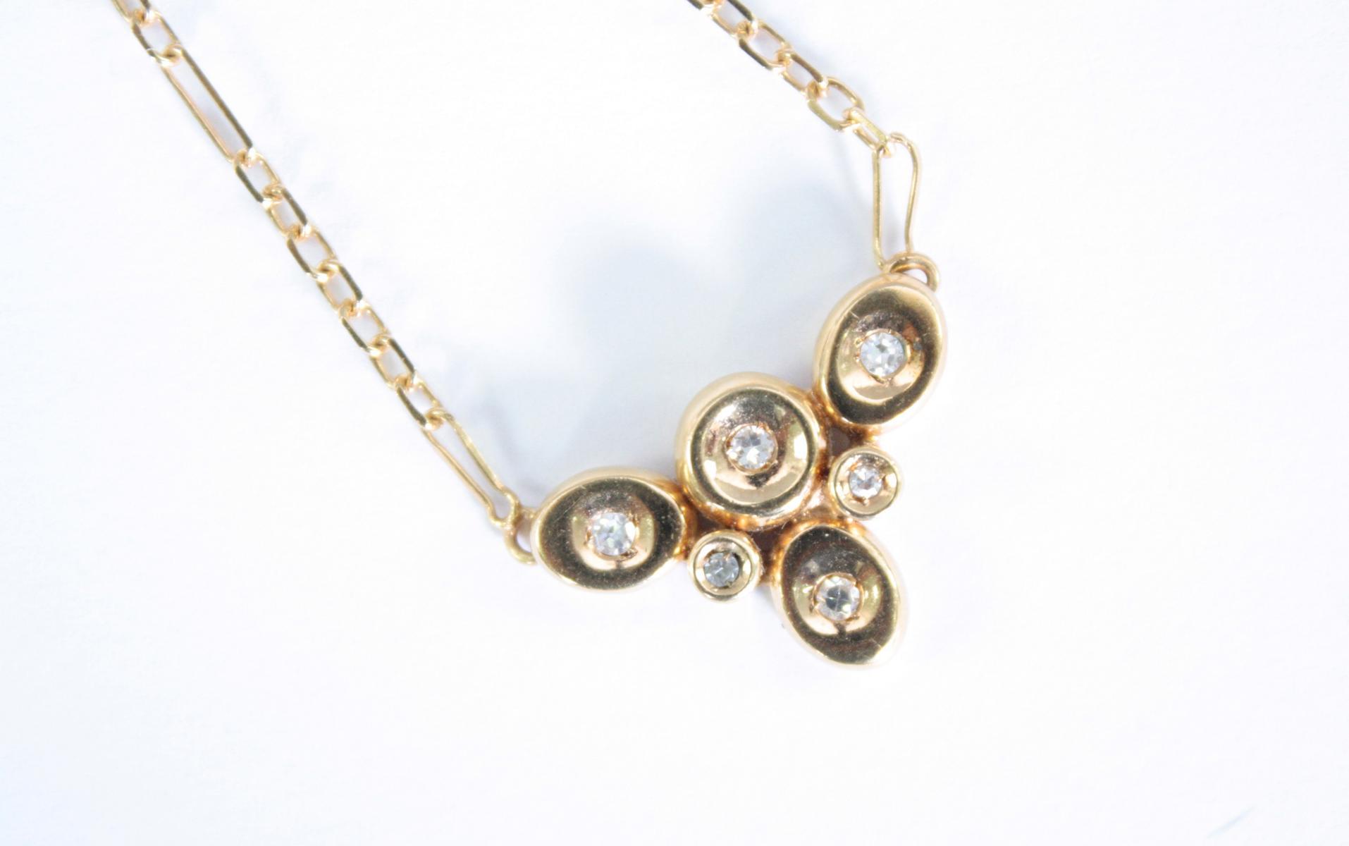 Collier mit Diamanten,  18 Karat Gelbgold-2