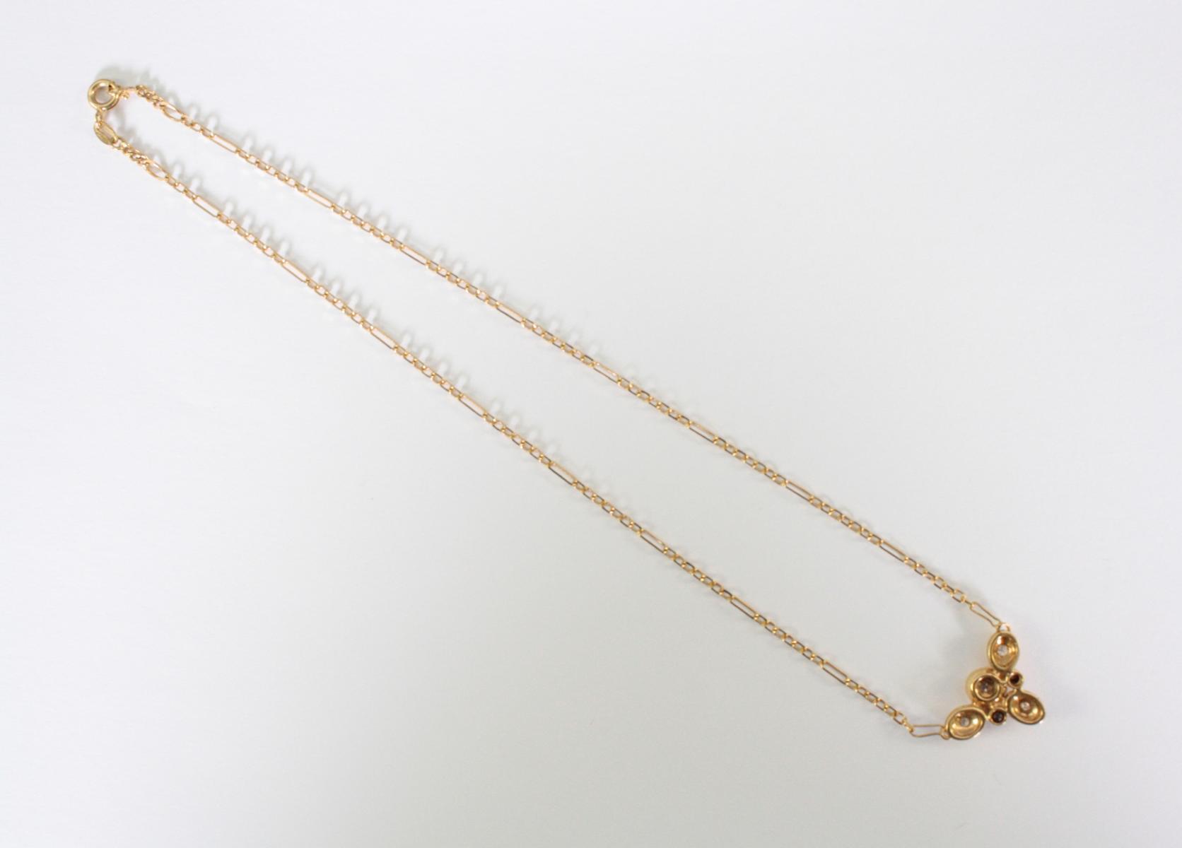 Collier mit Diamanten,  18 Karat Gelbgold-3
