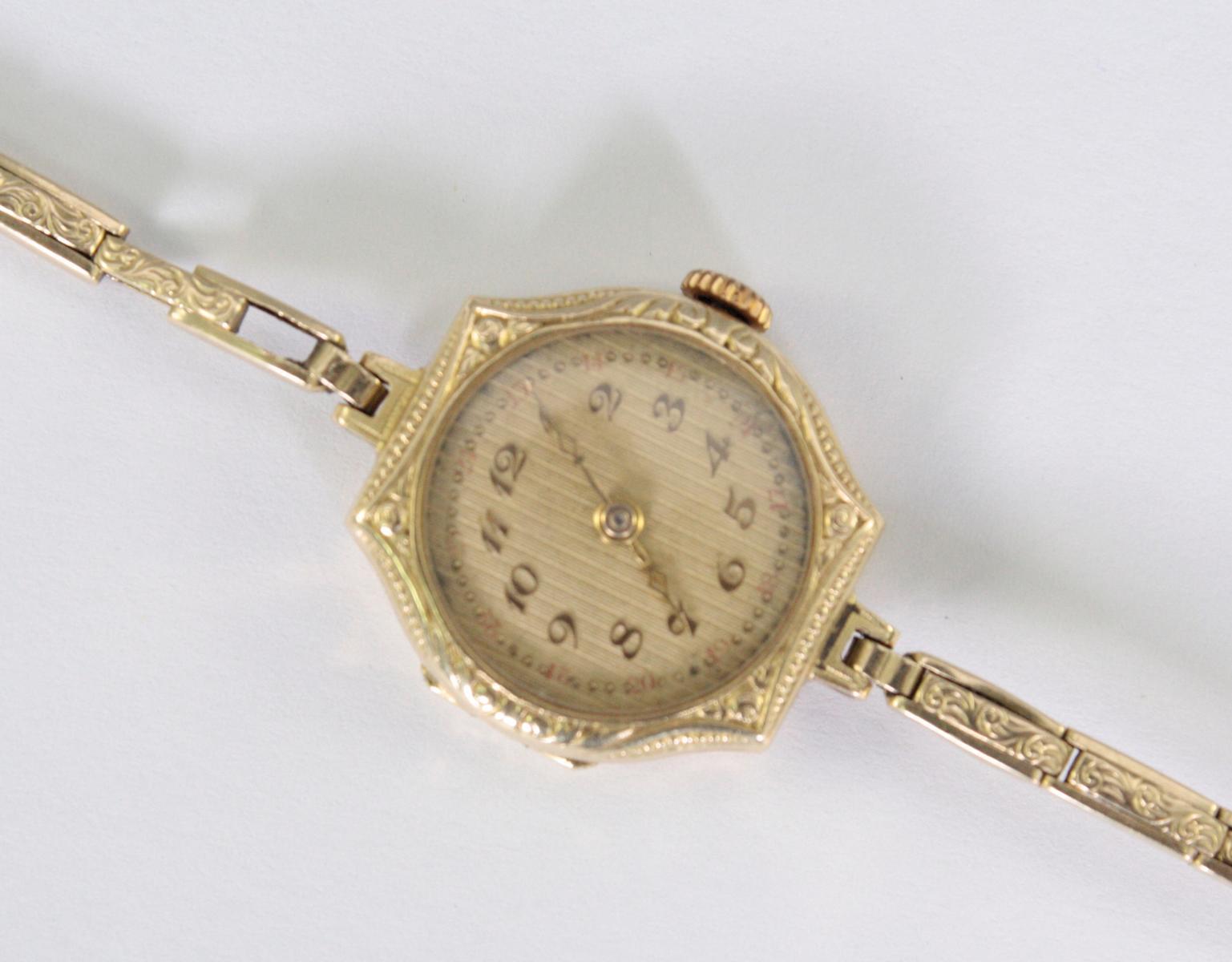 Antike Damenarmbanduhr,  14 Karat Gelbgold-2