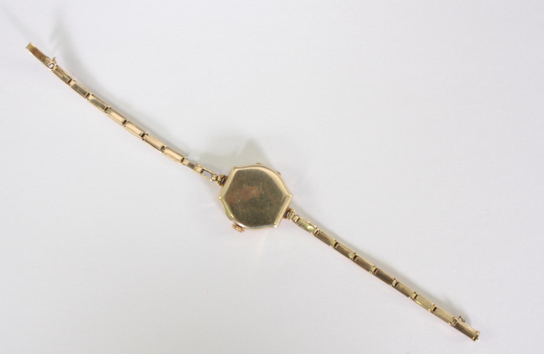 Antike Damenarmbanduhr,  14 Karat Gelbgold-3