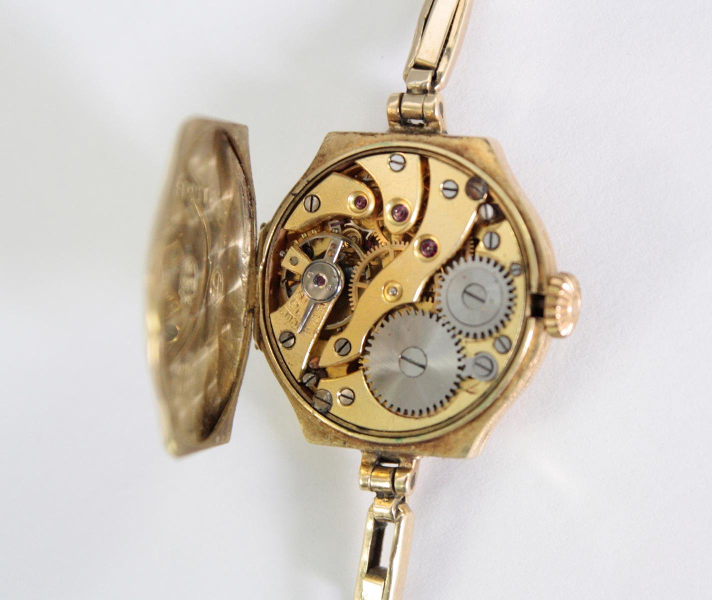 Antike Damenarmbanduhr,  14 Karat Gelbgold-4