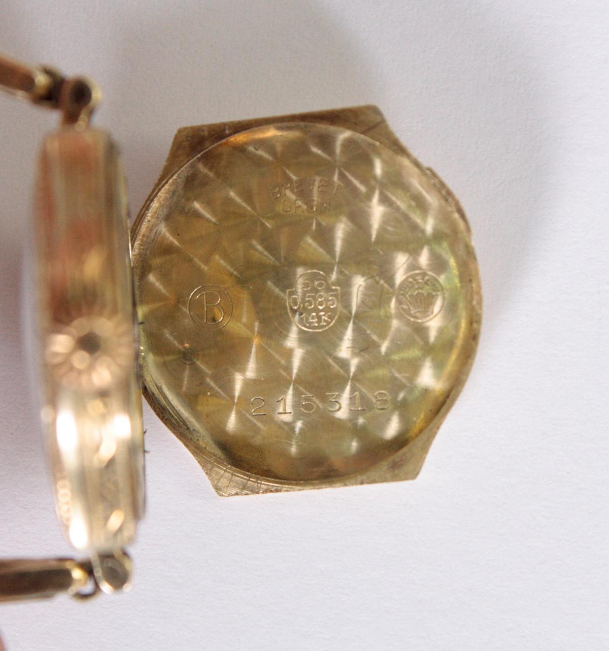 Antike Damenarmbanduhr,  14 Karat Gelbgold-5