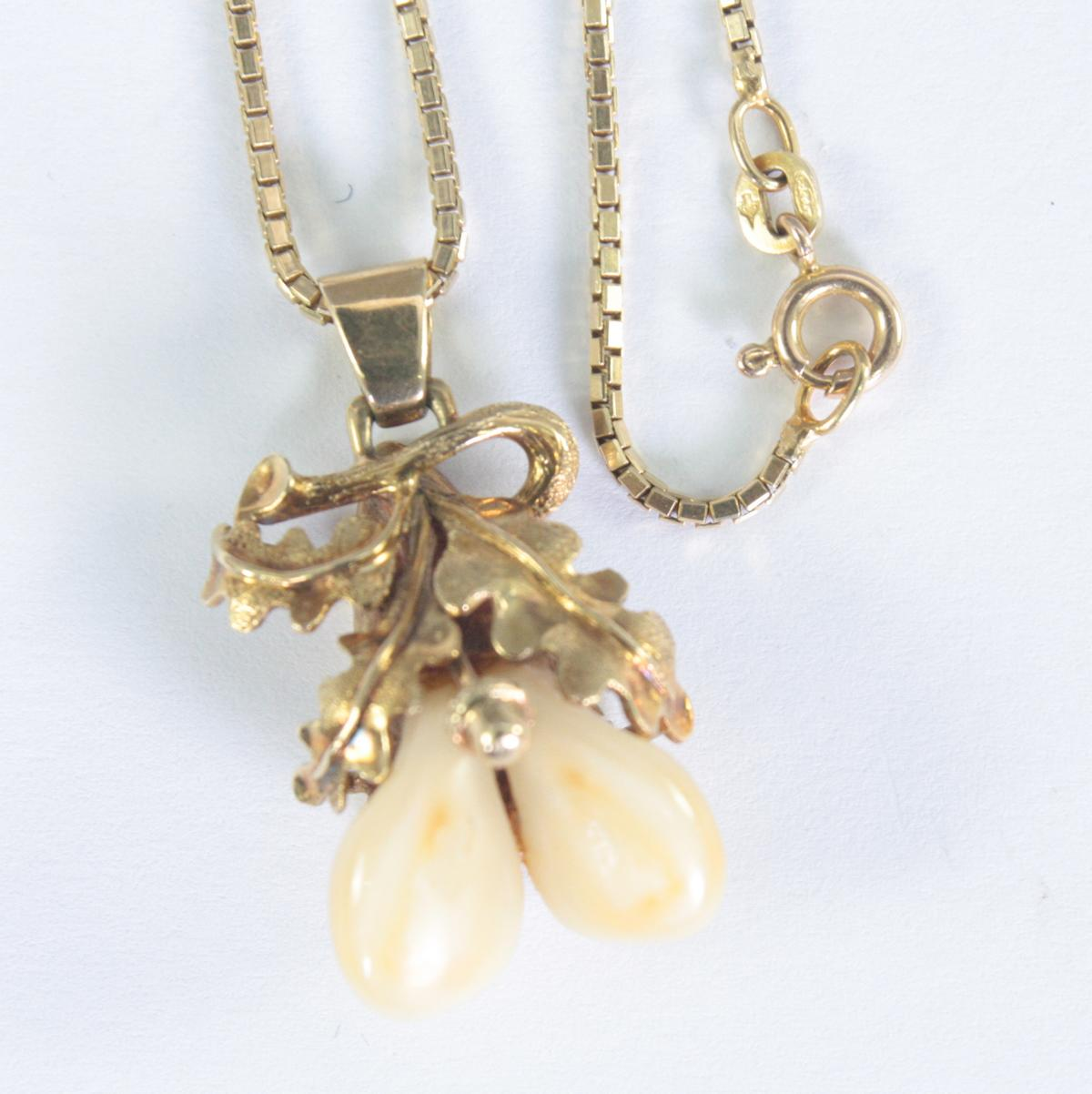Halskette mit Grandelanhänger, 14 Karat Gelbgold-2