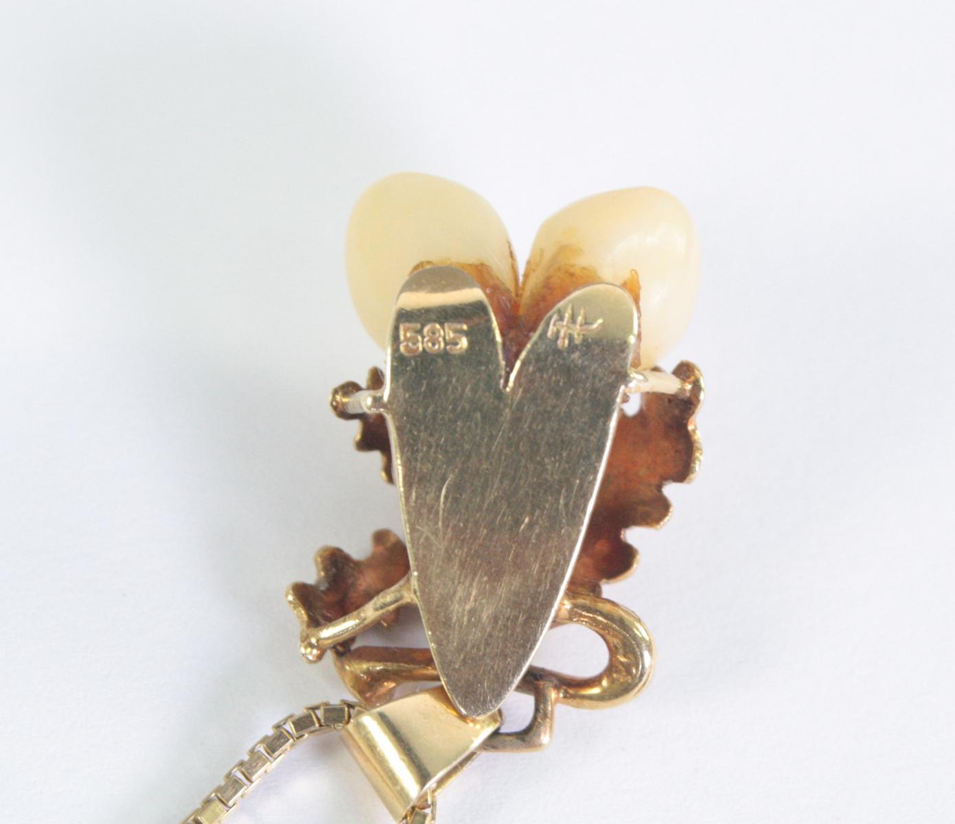 Halskette mit Grandelanhänger, 14 Karat Gelbgold-3