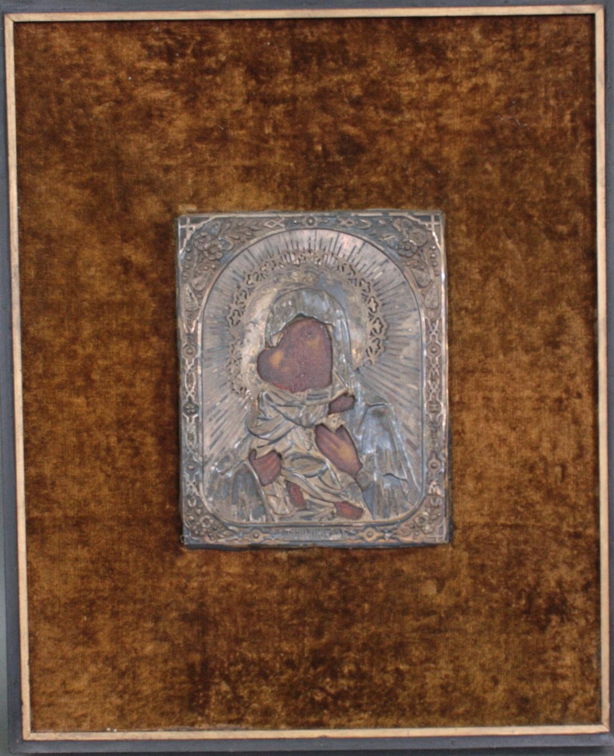 Gottesmutter von Wladimir mit Silberoklad, Moskau 19. jahrhundert