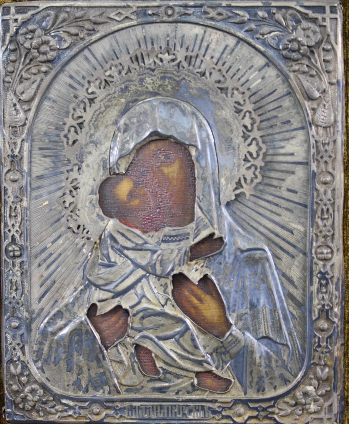 Gottesmutter von Wladimir mit Silberoklad, Moskau 19. jahrhundert-2