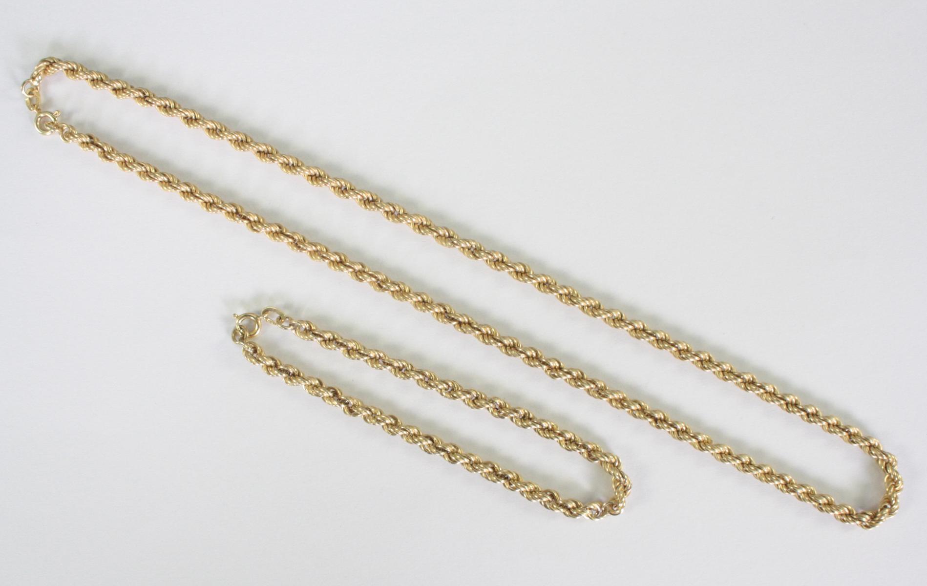 Damenhalskette und Armband, 14 Karat Gelbgold