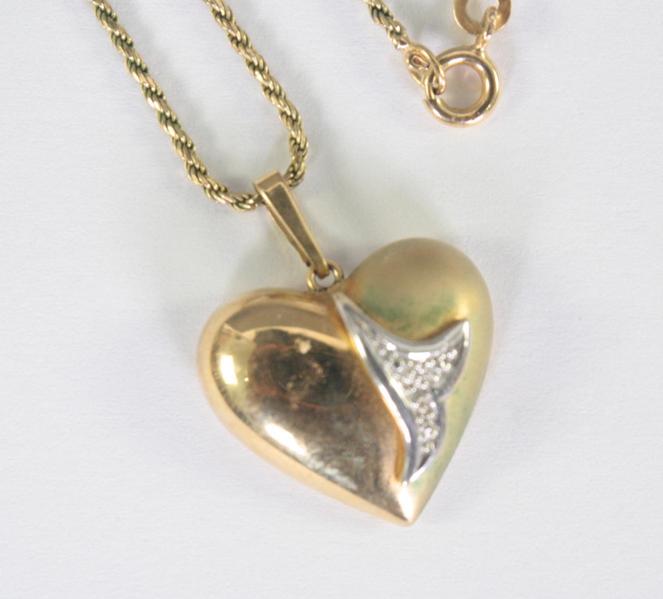 Halskette mit Herzanhänger, 8 Karat Gelbgold-2