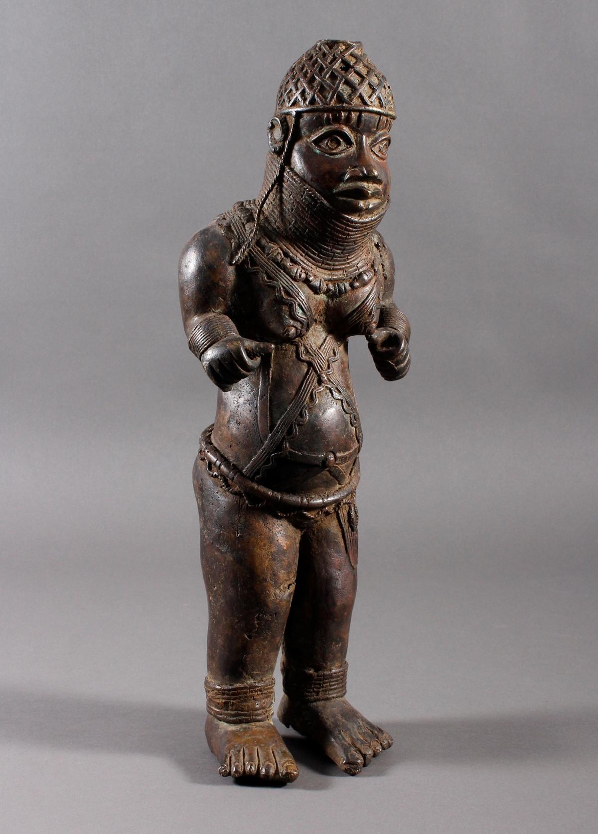 Bronze Gedenkfigur, Benin, Nigeria, 20. Jahrhundert