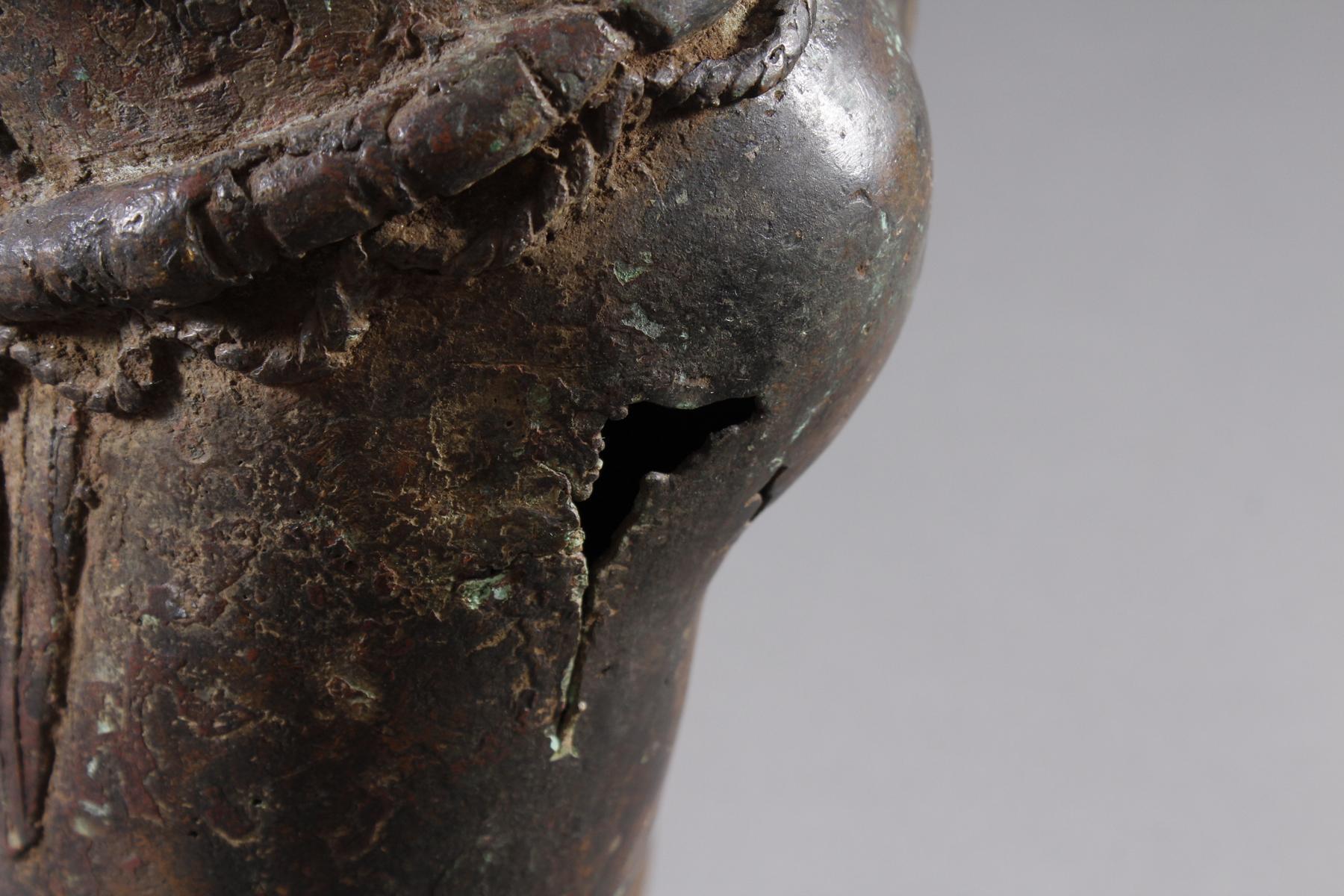 Bronze Gedenkfigur, Benin, Nigeria, 20. Jahrhundert-8