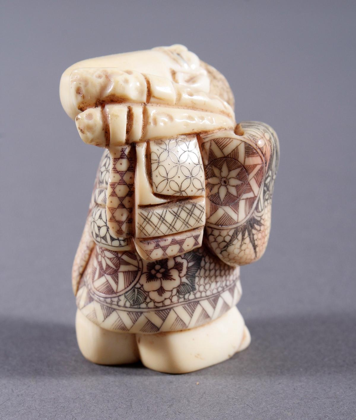Elfenbein Okimono, Unsterblicher, Japan, Meiji Periode-3