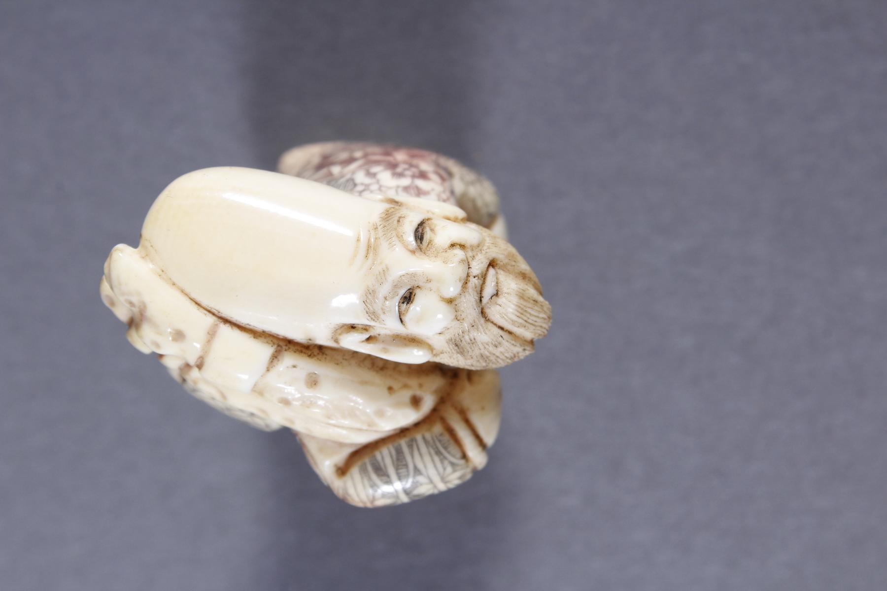 Elfenbein Okimono, Unsterblicher, Japan, Meiji Periode-6