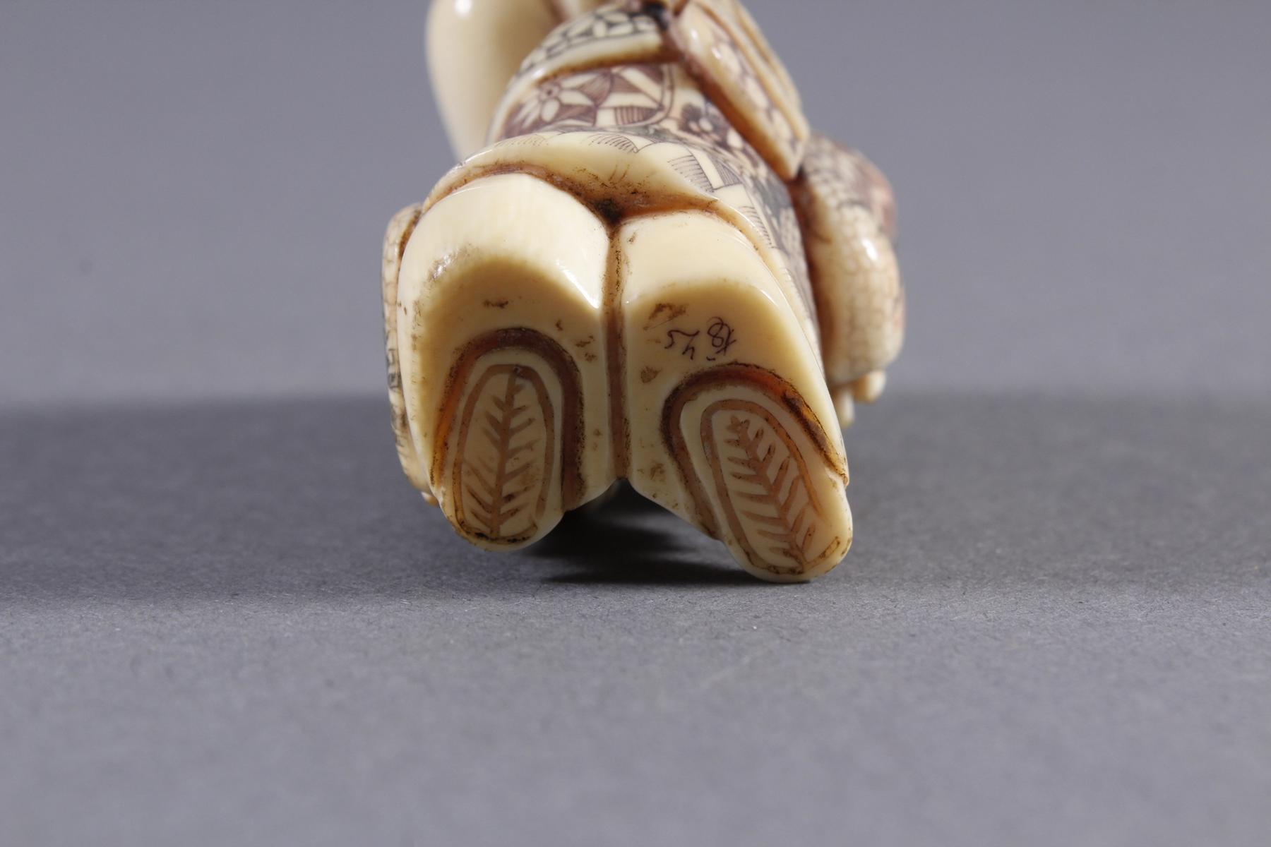 Elfenbein Okimono, Unsterblicher, Japan, Meiji Periode-7