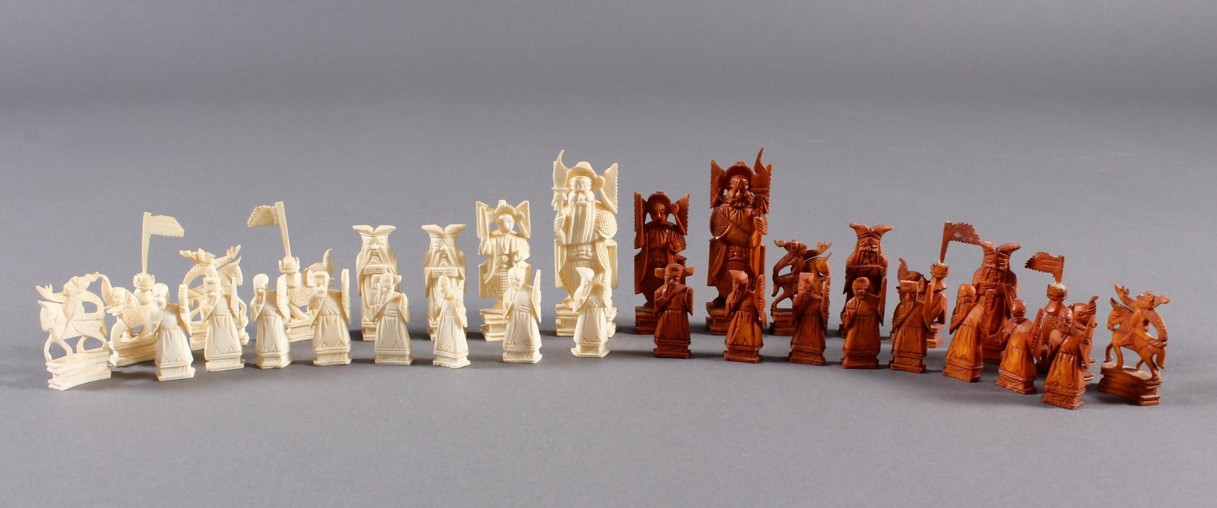 Elfenbein Schachspiel, China um 1930