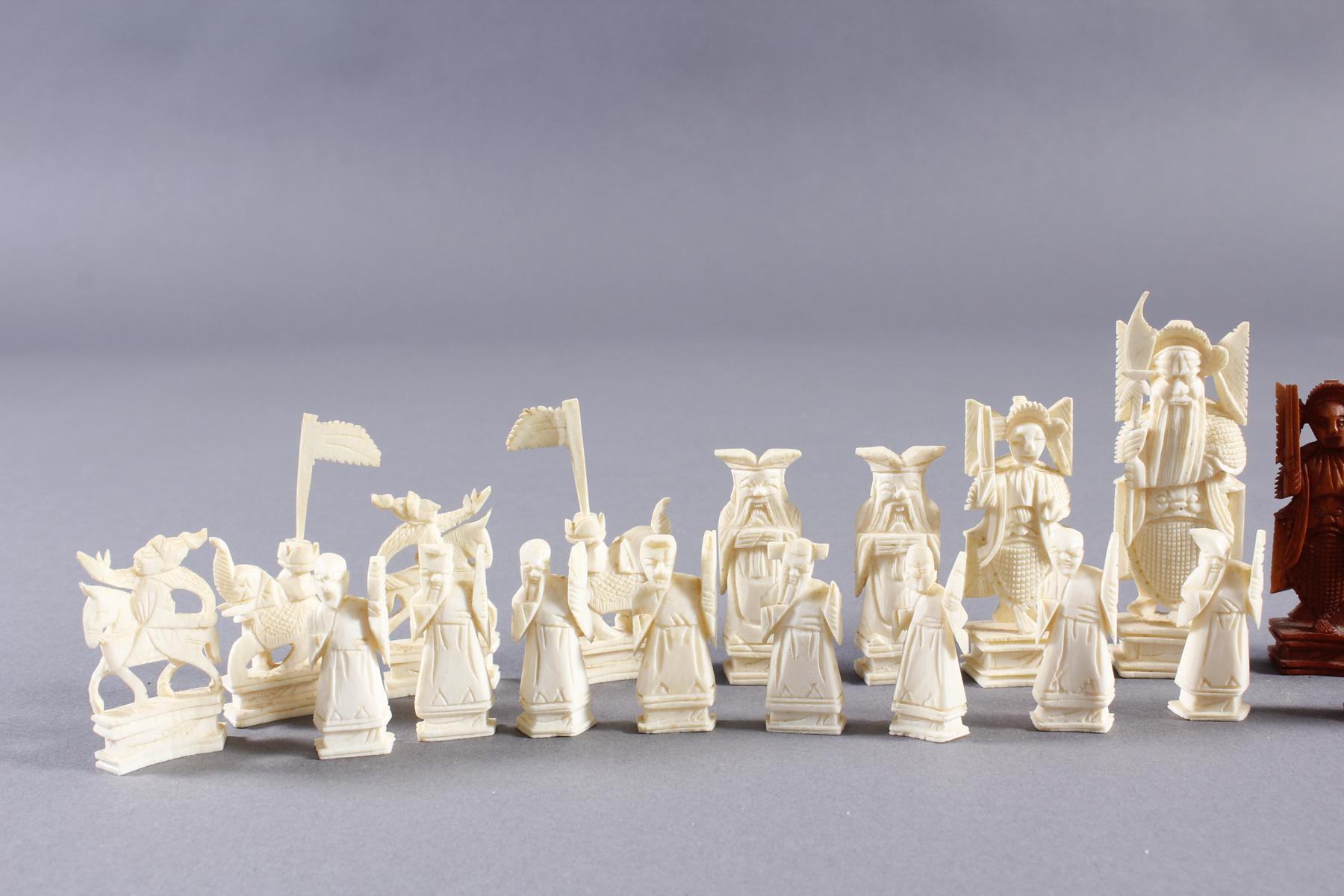 Elfenbein Schachspiel, China um 1930-3
