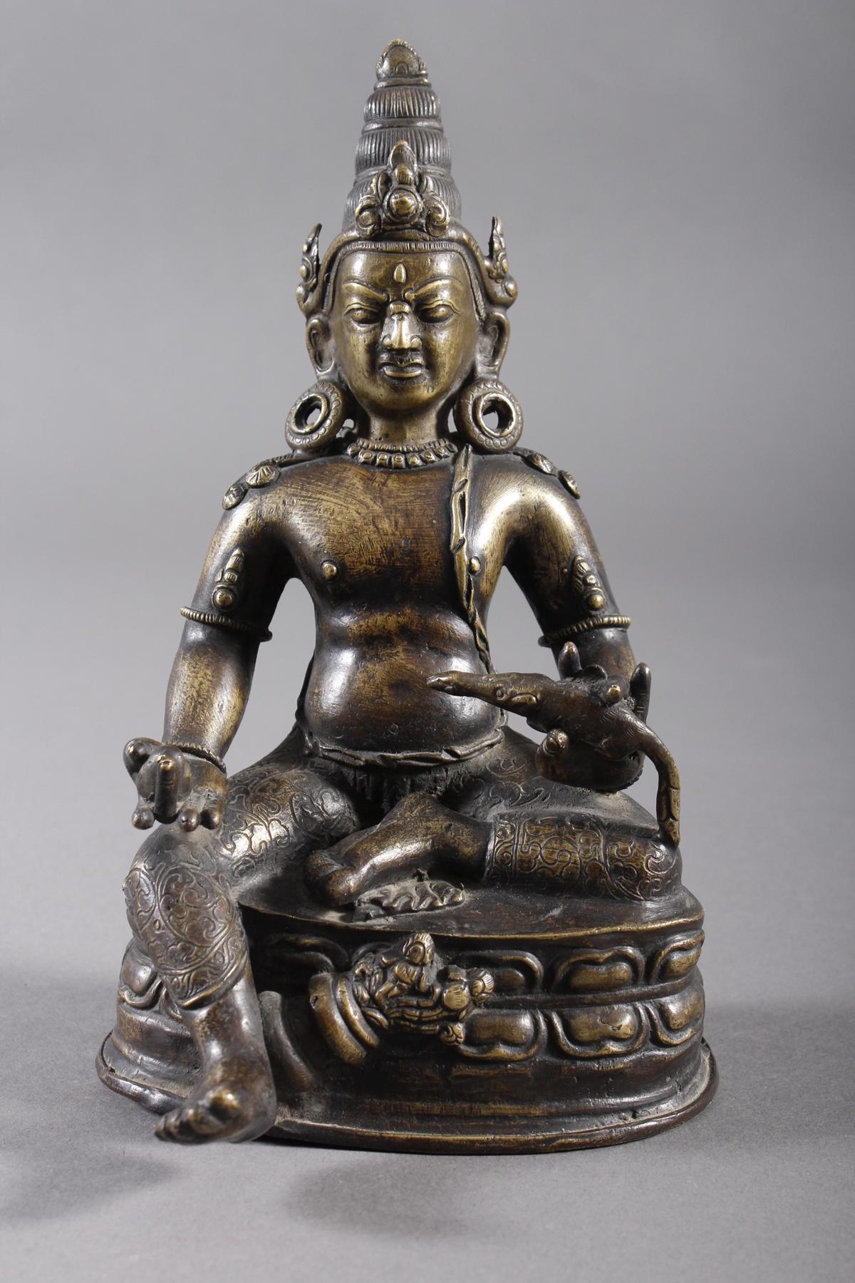 Bronze Buddha, Jambhala, Tibet, 17. / 18.. Jahrhundert