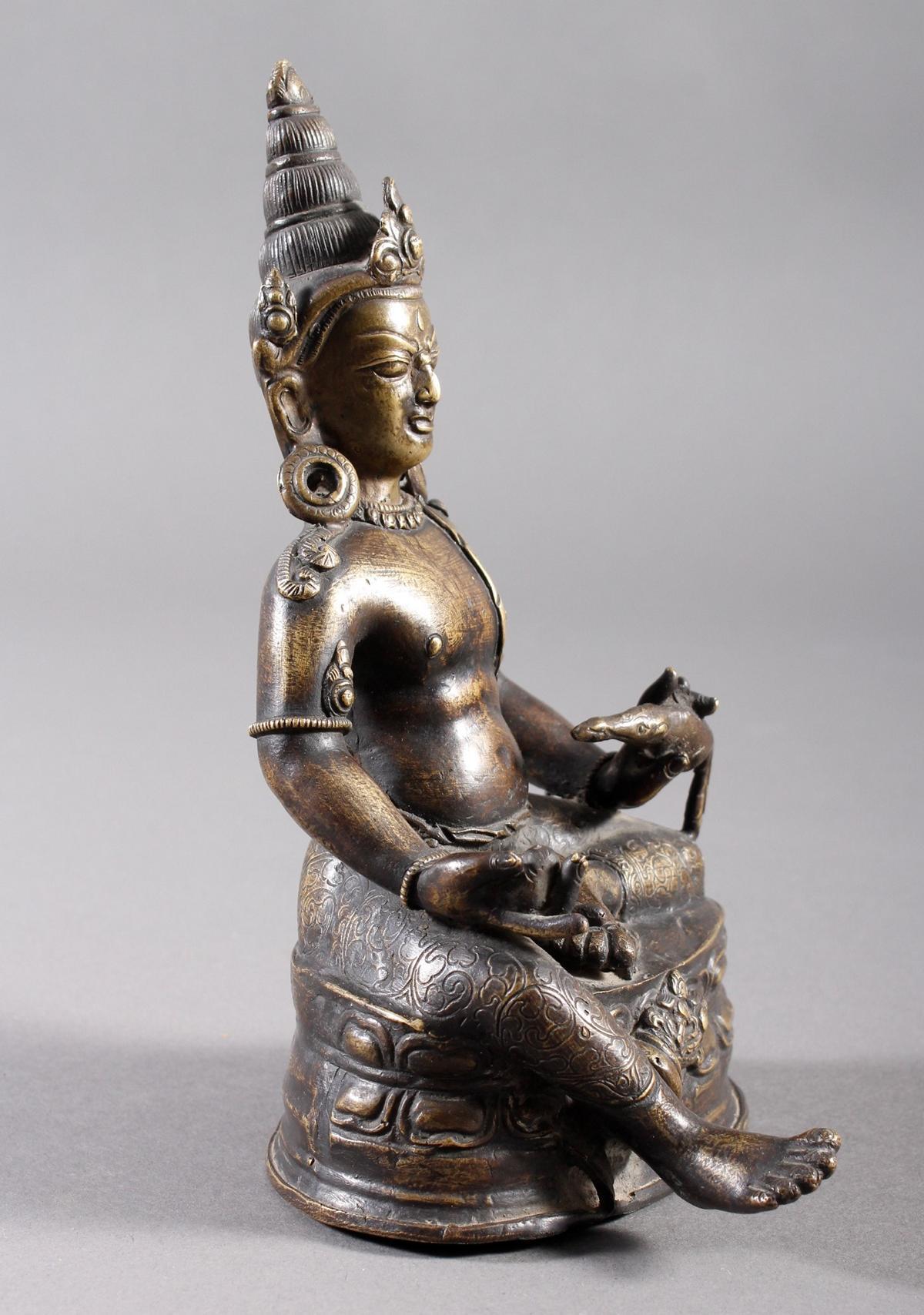 Bronze Buddha, Jambhala, Tibet, 17. / 18.. Jahrhundert-2