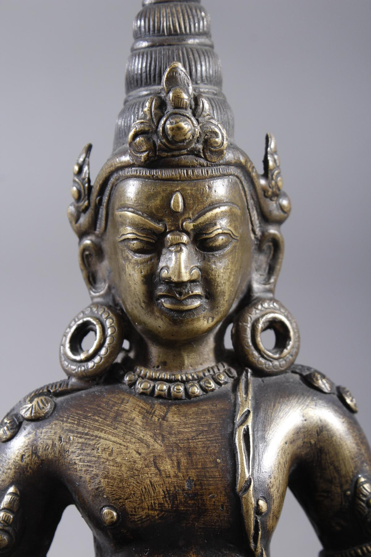 Bronze Buddha, Jambhala, Tibet, 17. / 18.. Jahrhundert-5