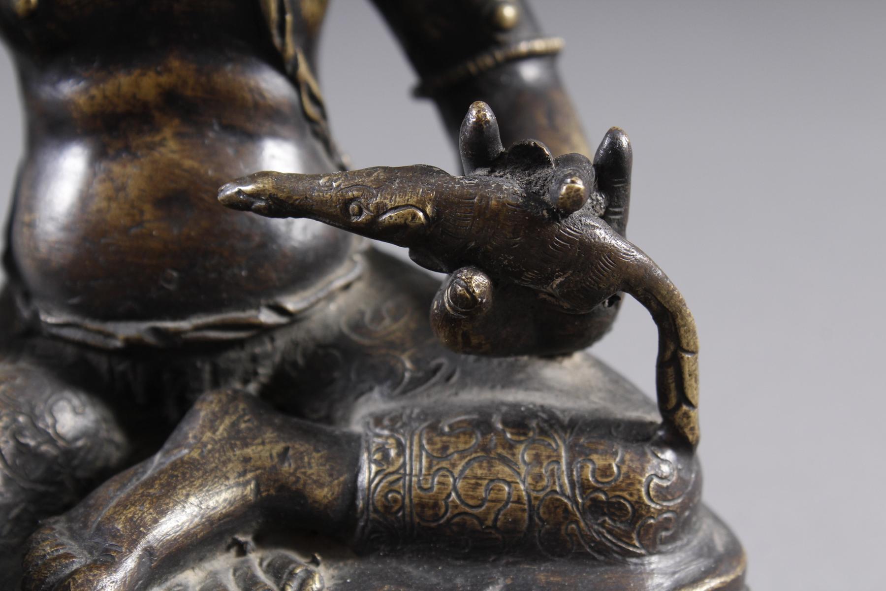 Bronze Buddha, Jambhala, Tibet, 17. / 18.. Jahrhundert-6