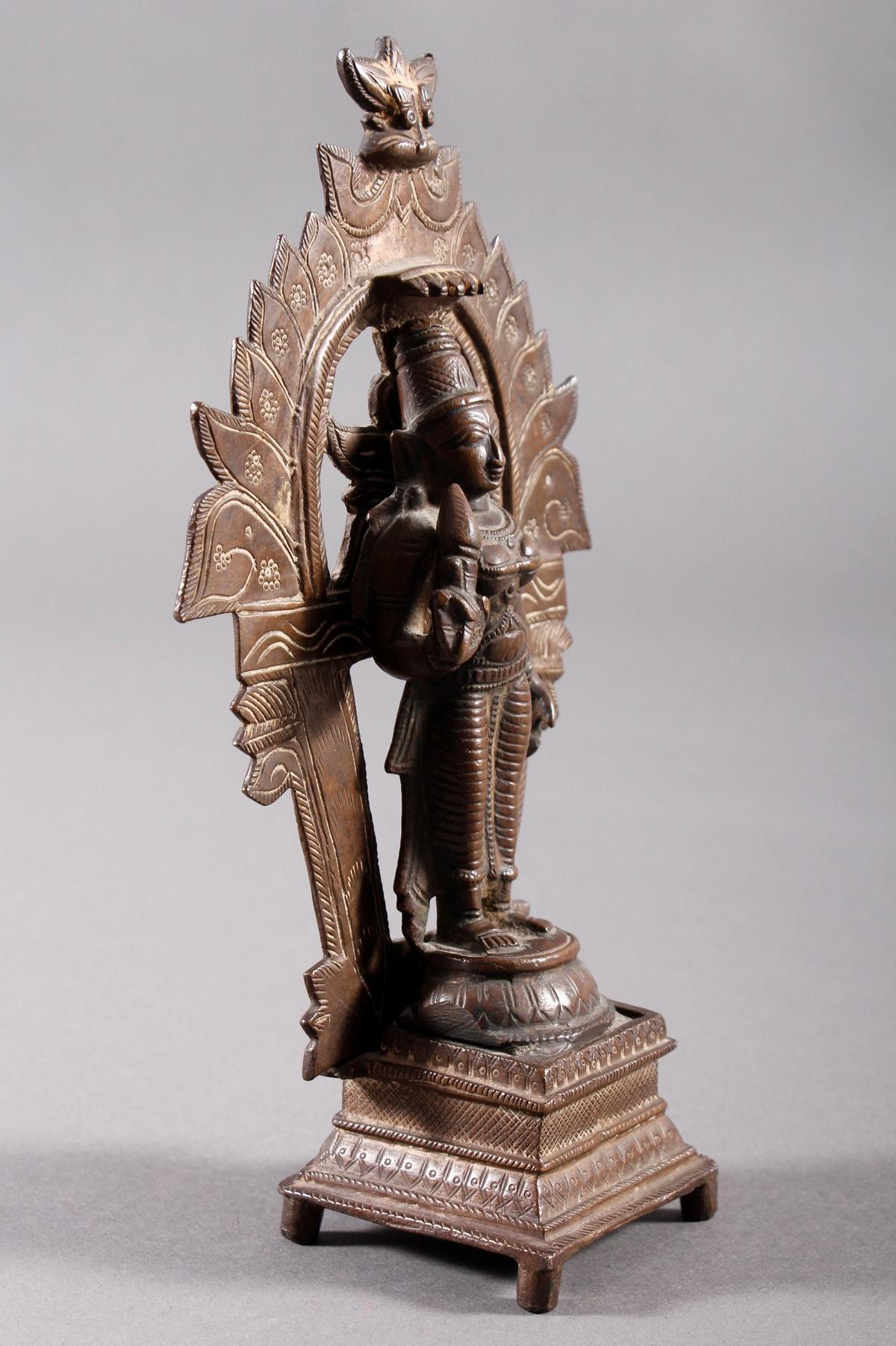 Bronze, Hinduistische Gottheit, Indien, 18. / 19. Jahrhundert-3
