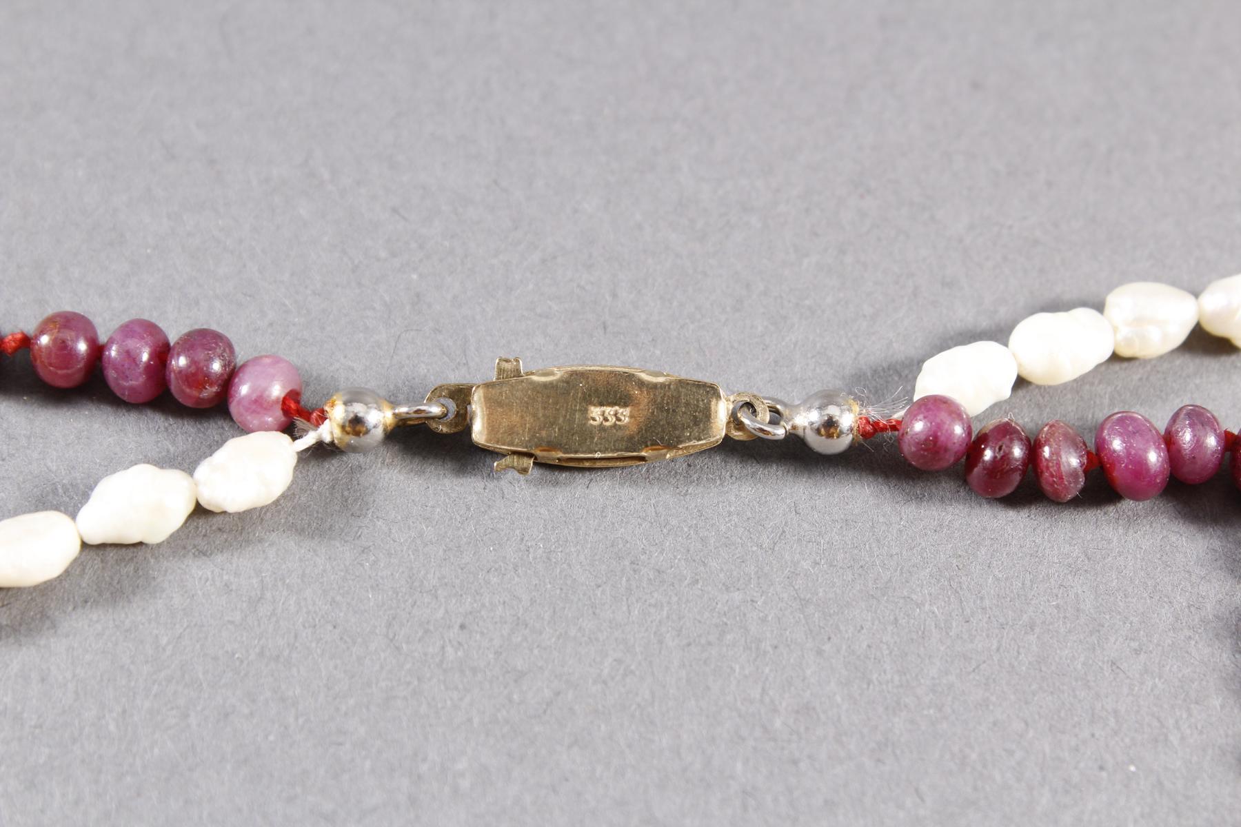Halskette, Granat und Süßwasserperle, 333er Goldverschluss-2