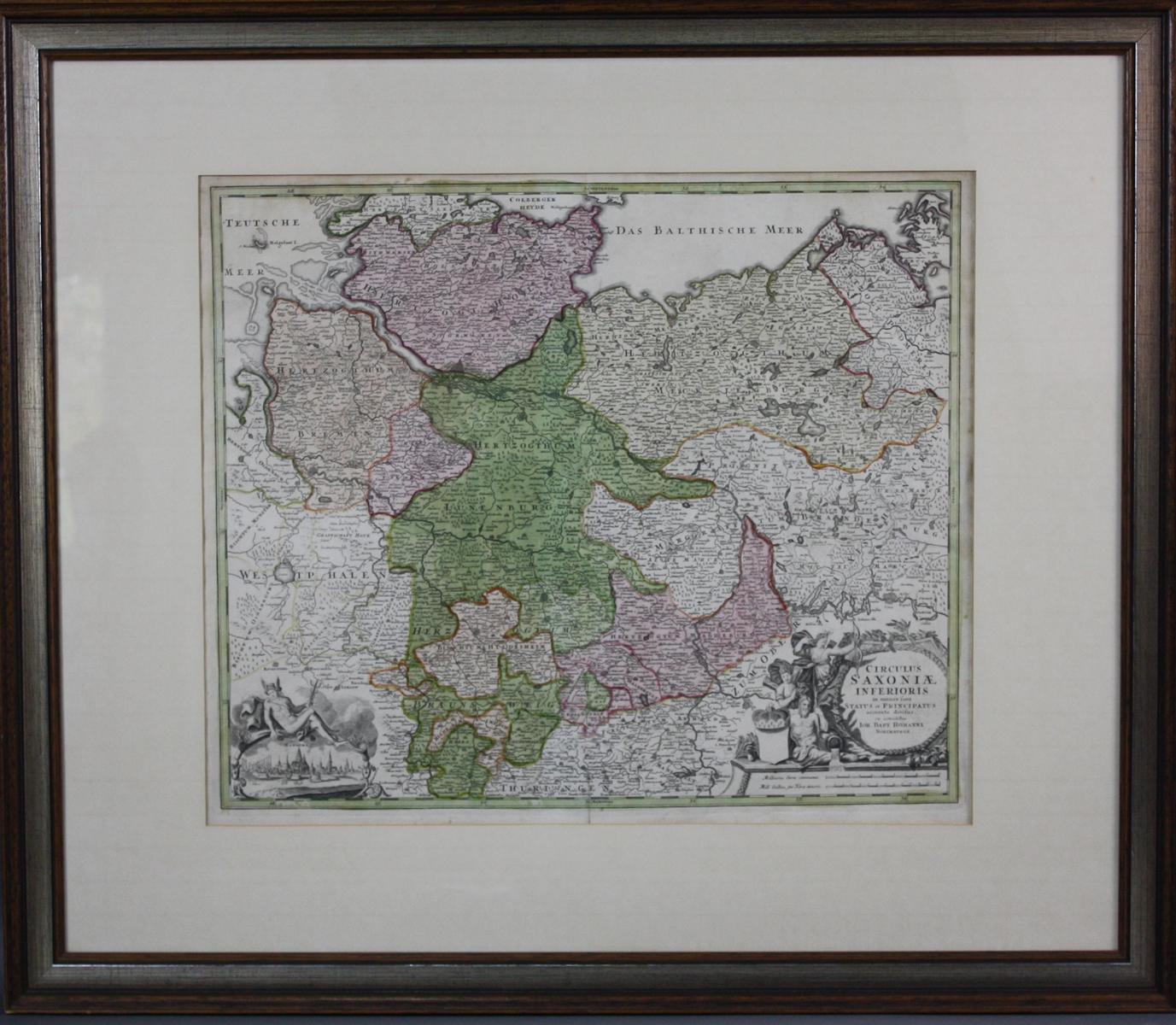 Altkolorierte Kupferstichkarte von Joh. Bap. Homann um 1720