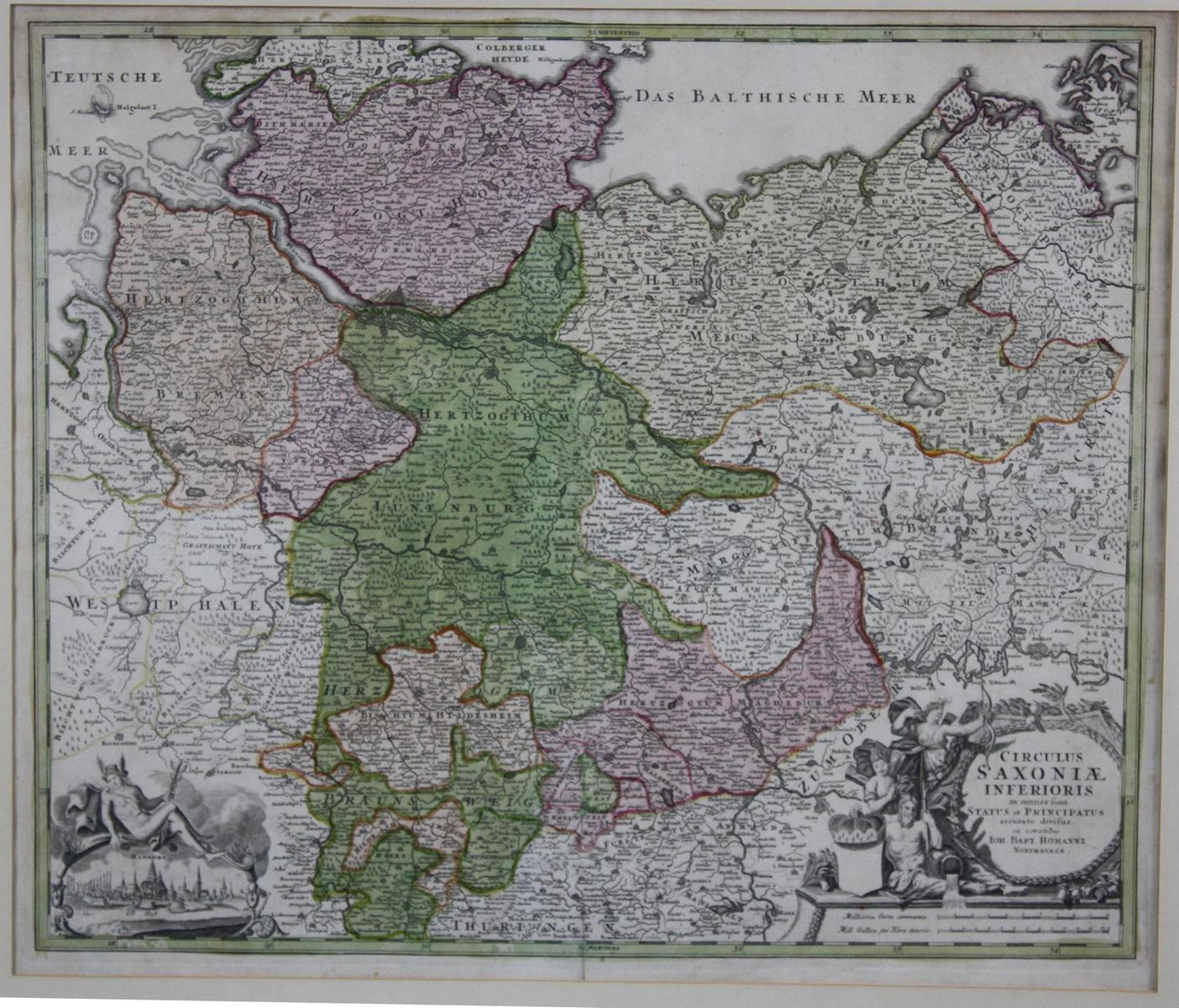 Altkolorierte Kupferstichkarte von Joh. Bap. Homann um 1720-2
