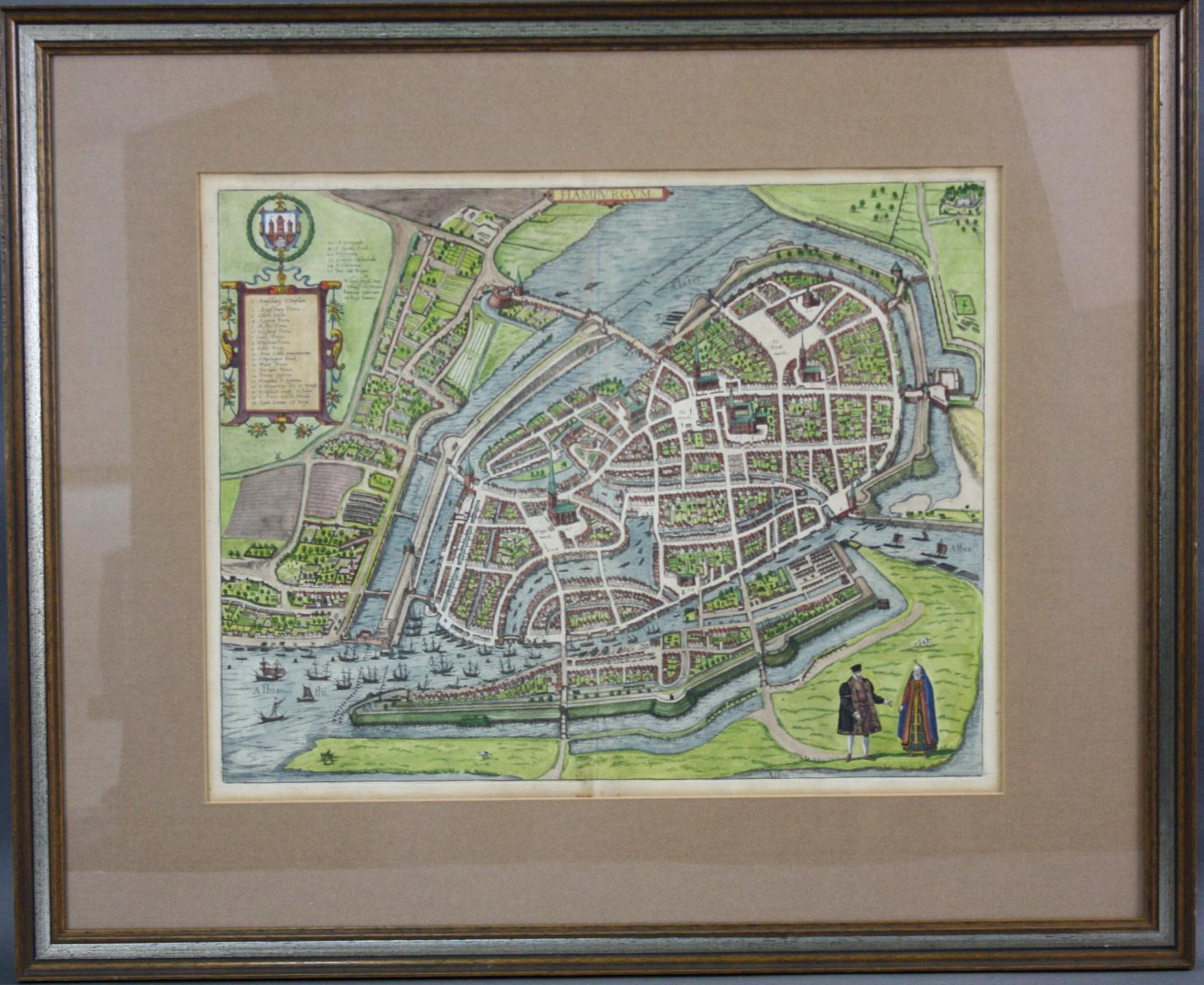 Altkolorierte Kupferstichkarte, um 1590. Braun/Hogenberg – Hamburgum