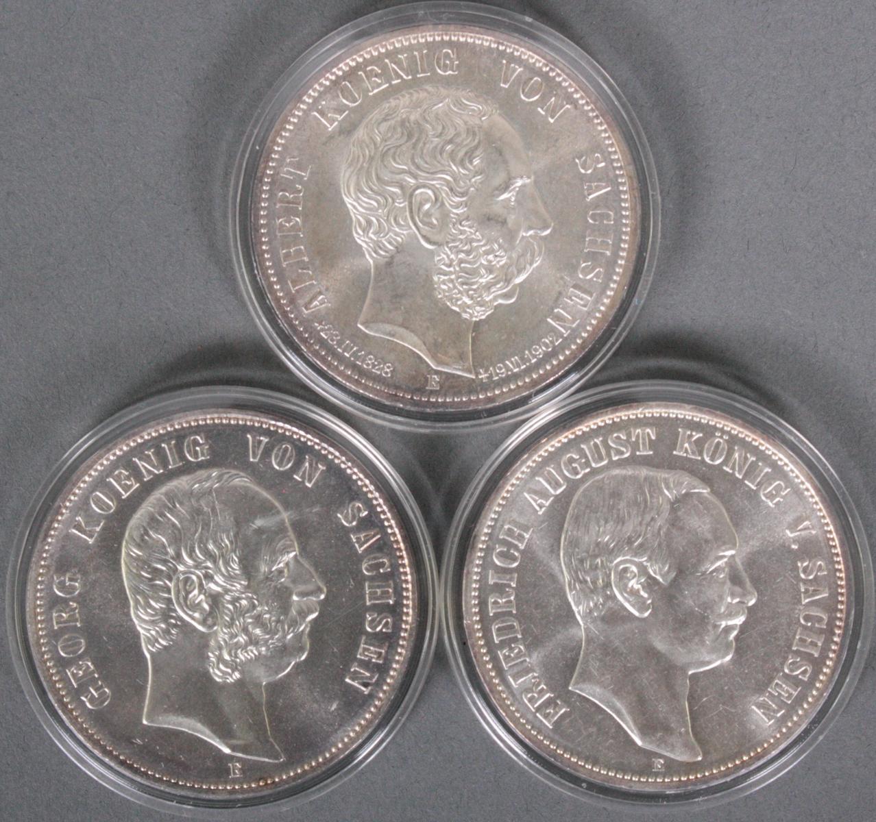 Sachsen, 3x 5 Mark, 1902-1914