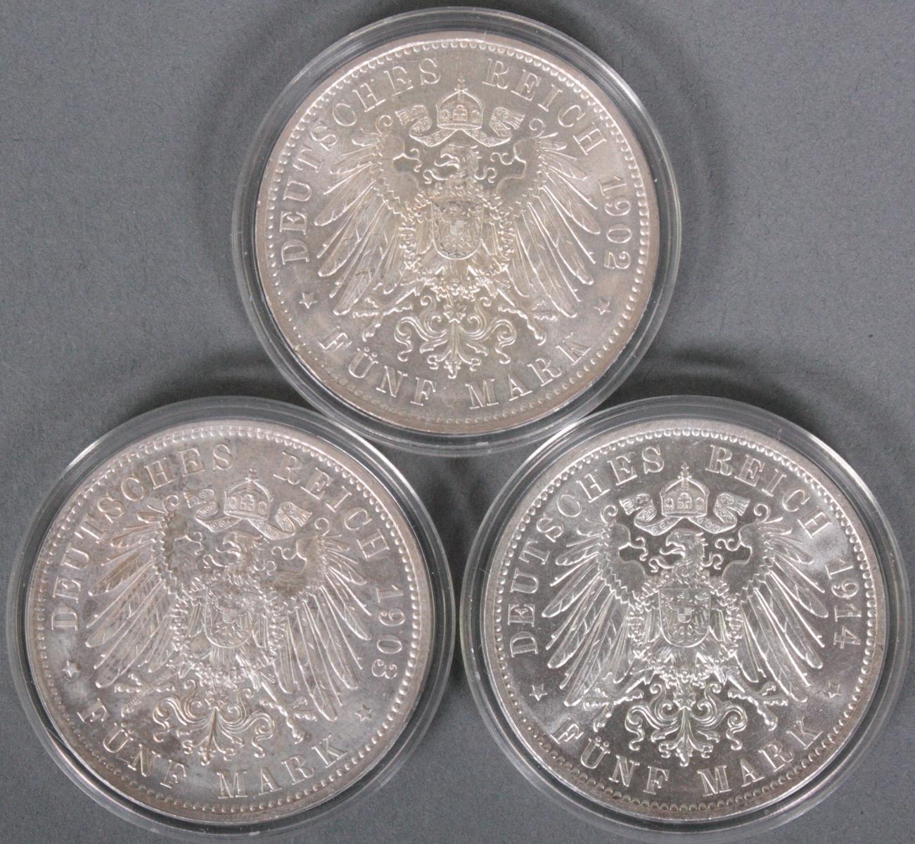 Sachsen, 3x 5 Mark, 1902-1914-2