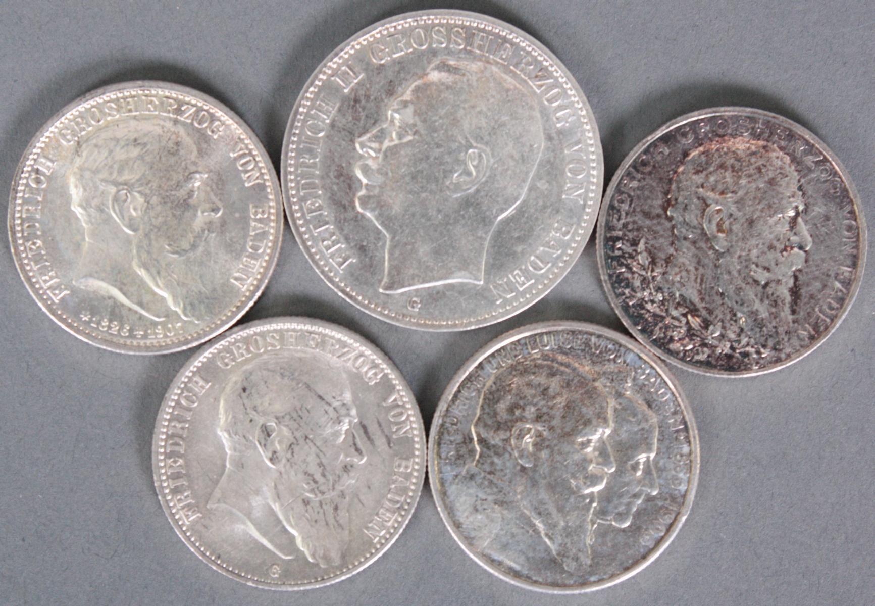 Baden, 5 Münzen, 3 Mark und 2 Mark
