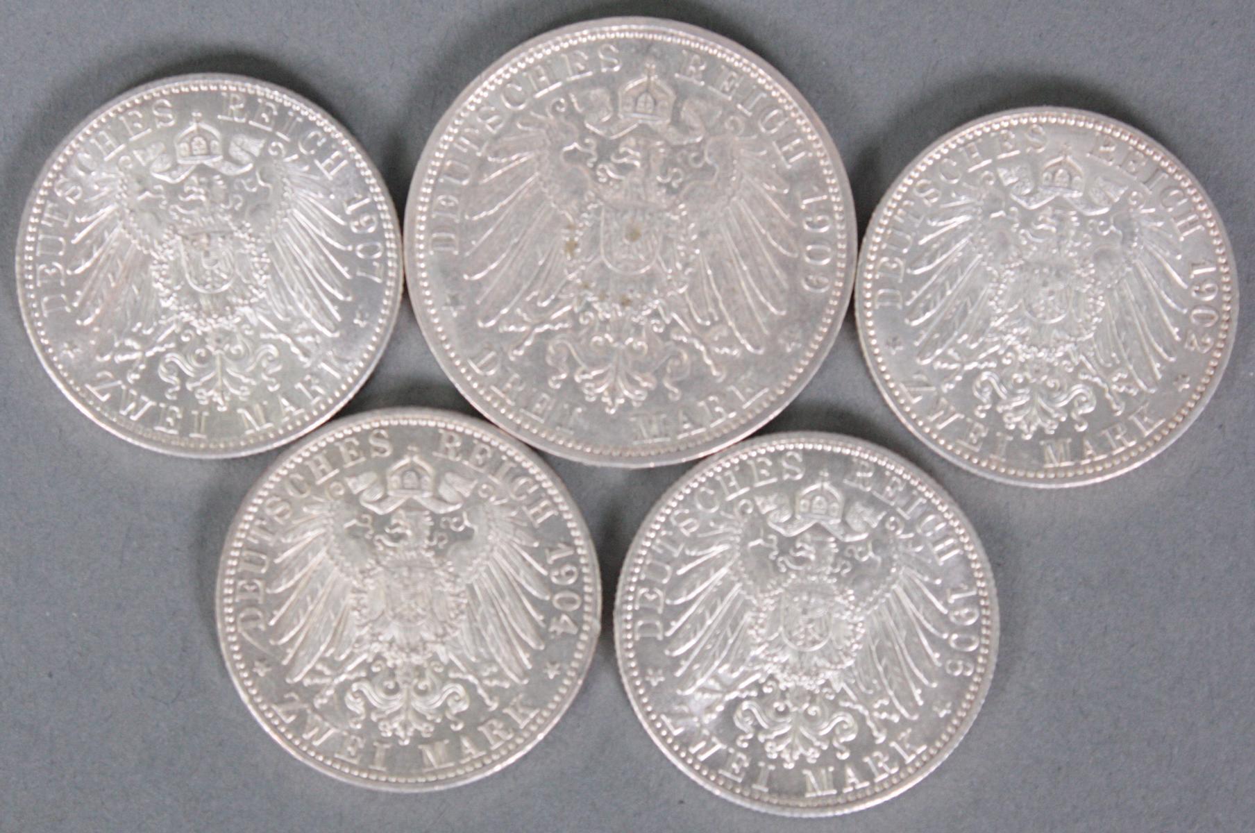 Baden, 5 Münzen, 3 Mark und 2 Mark-2
