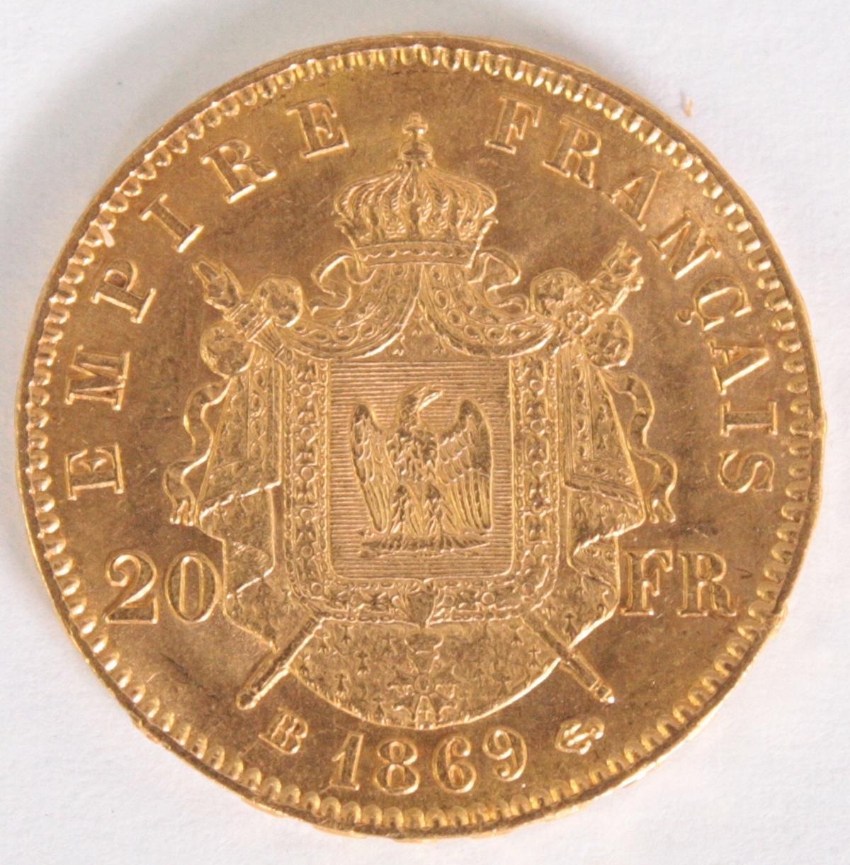 Frankreich, 20 Francs 1869, Napoleon III-2