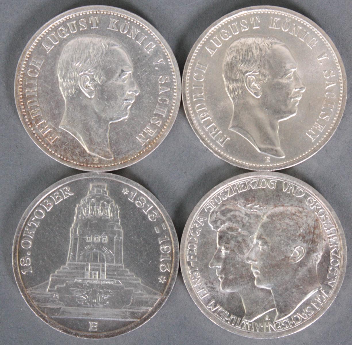 Sachsen / Sachsen-Weimar und Eisenach, 4x 3 Mark