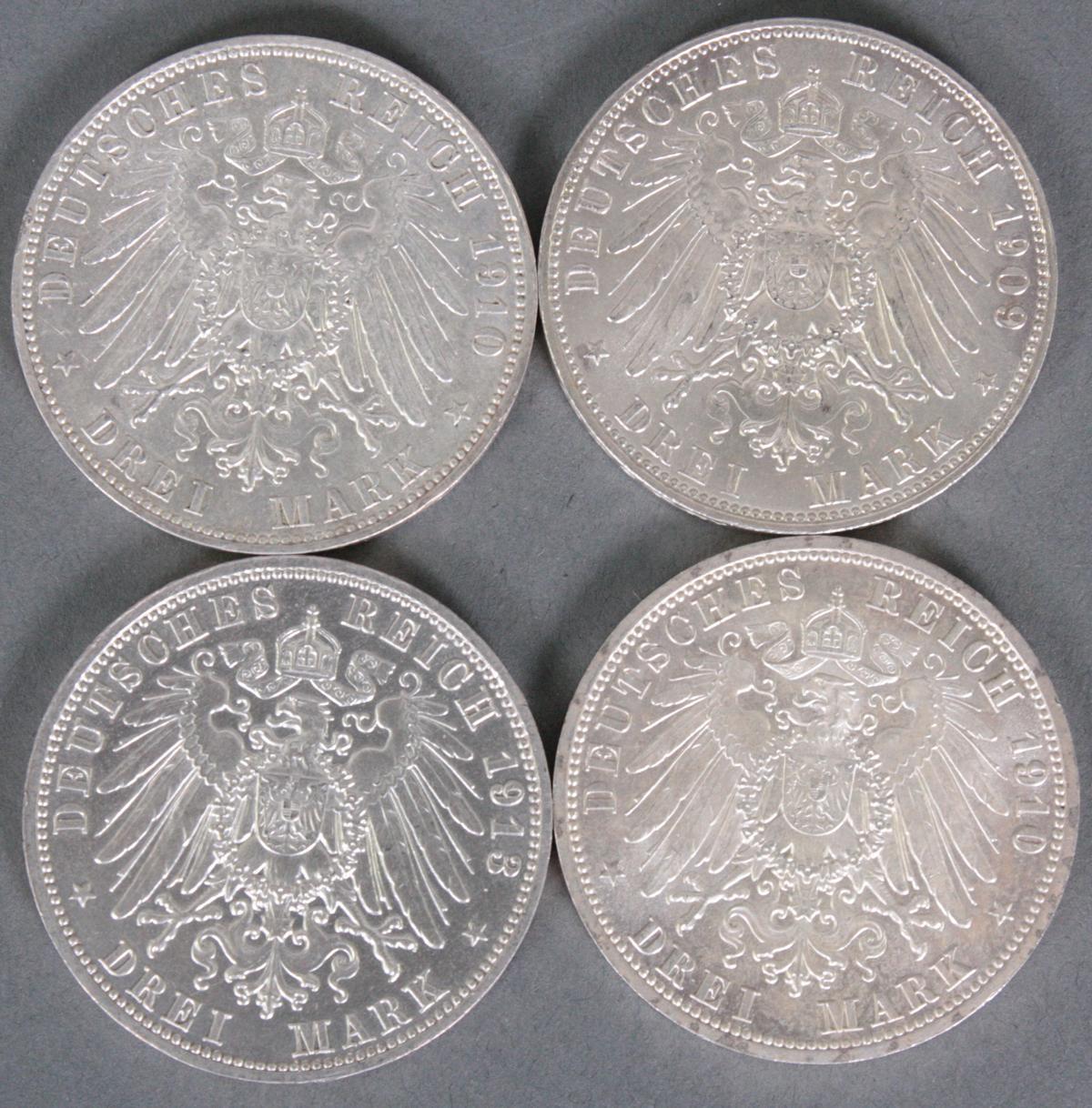 Sachsen / Sachsen-Weimar und Eisenach, 4x 3 Mark-2