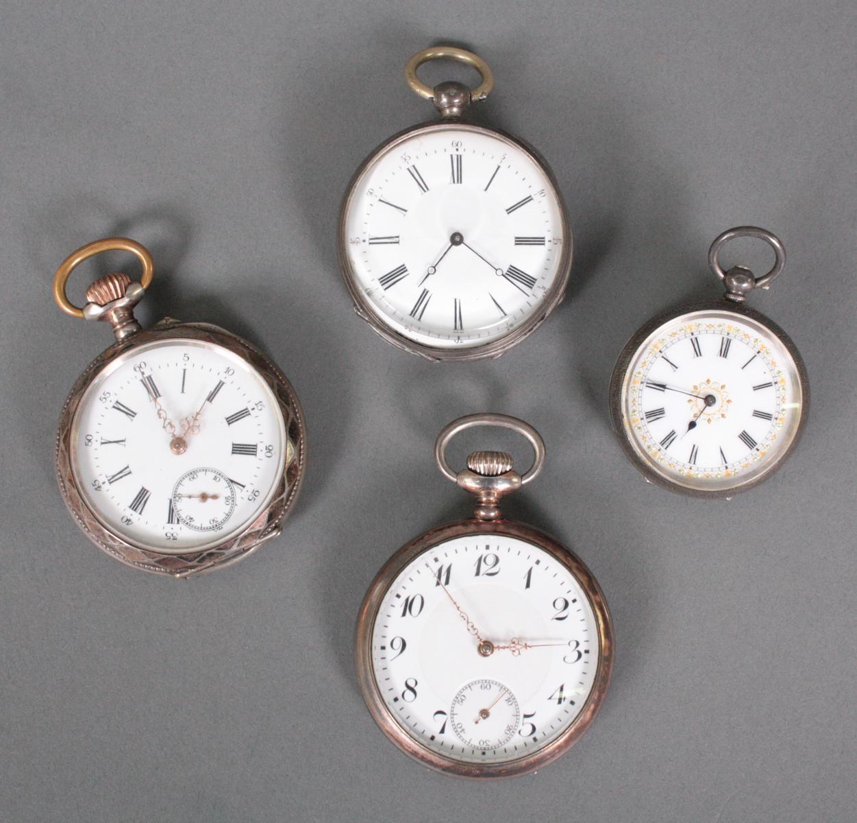 Sammlung silberne Taschenuhren um 1900