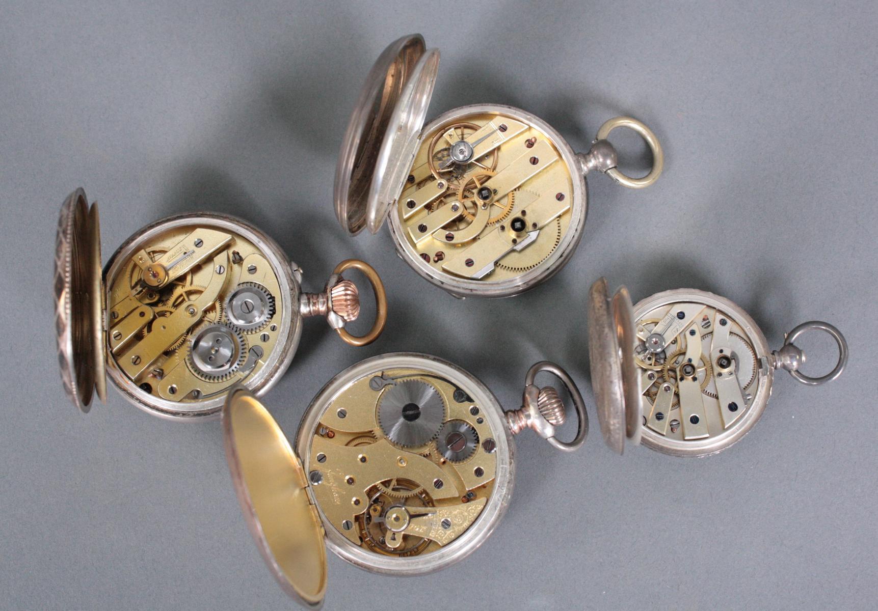 Sammlung silberne Taschenuhren um 1900-3