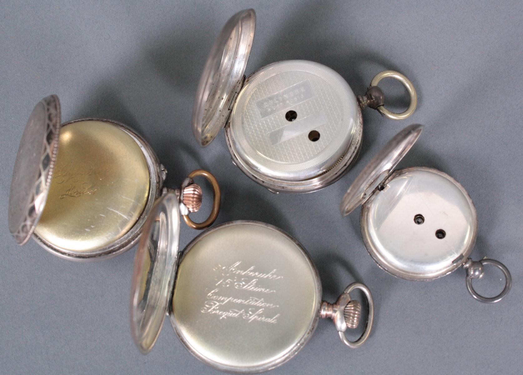 Sammlung silberne Taschenuhren um 1900-4