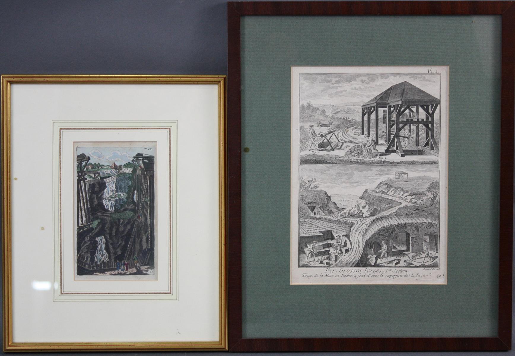 Bergbau. 2 Kupferstiche, 18. Jahrhundert