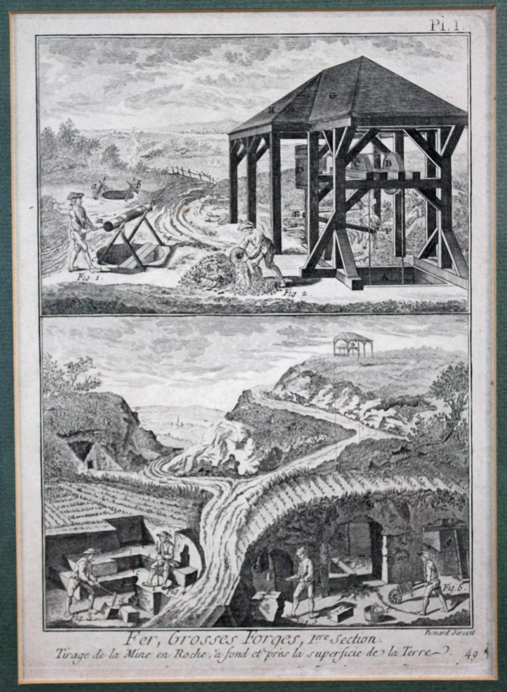Bergbau. 2 Kupferstiche, 18. Jahrhundert-3