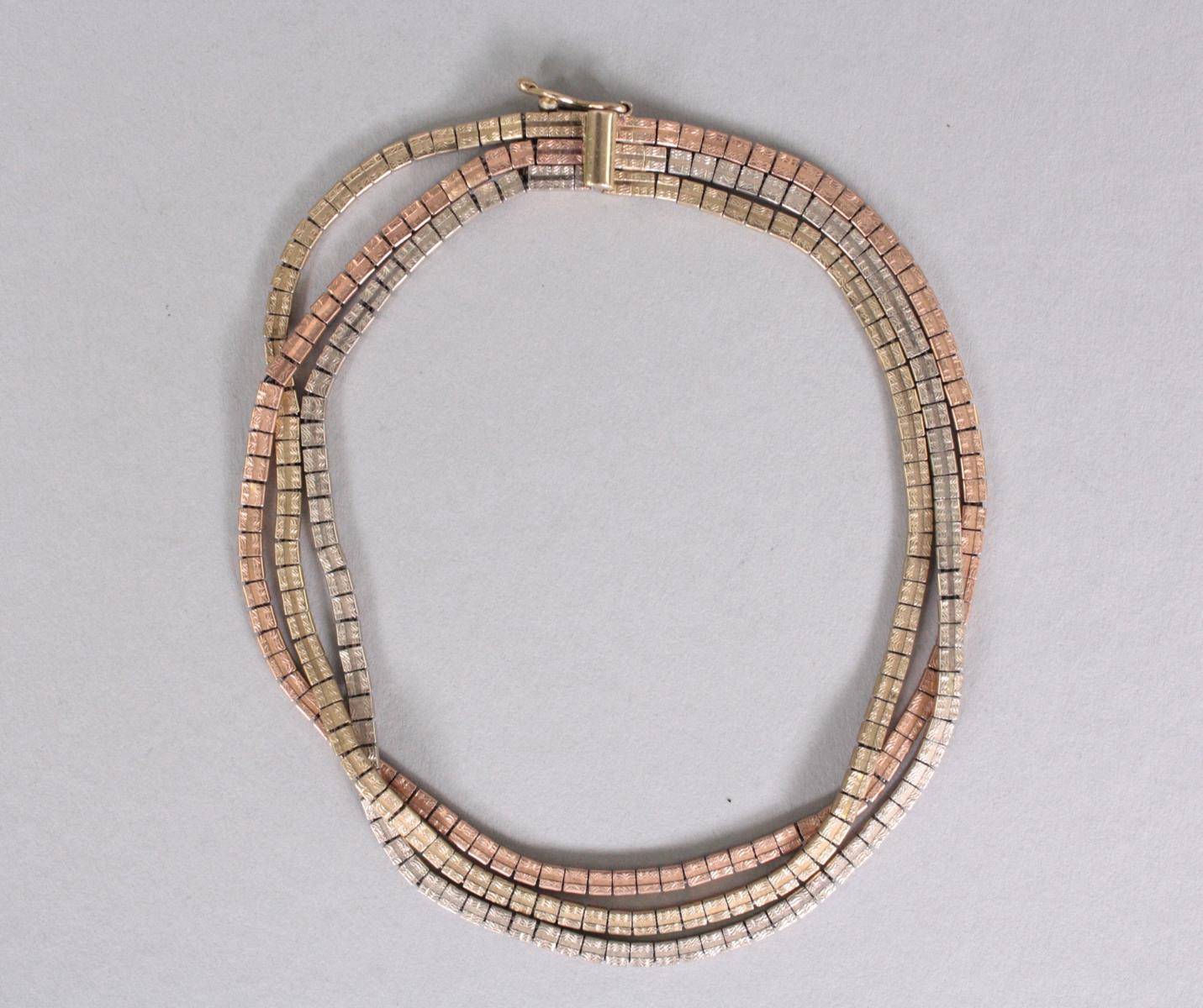Tricolor-Goldarmband, 8 Karat-2
