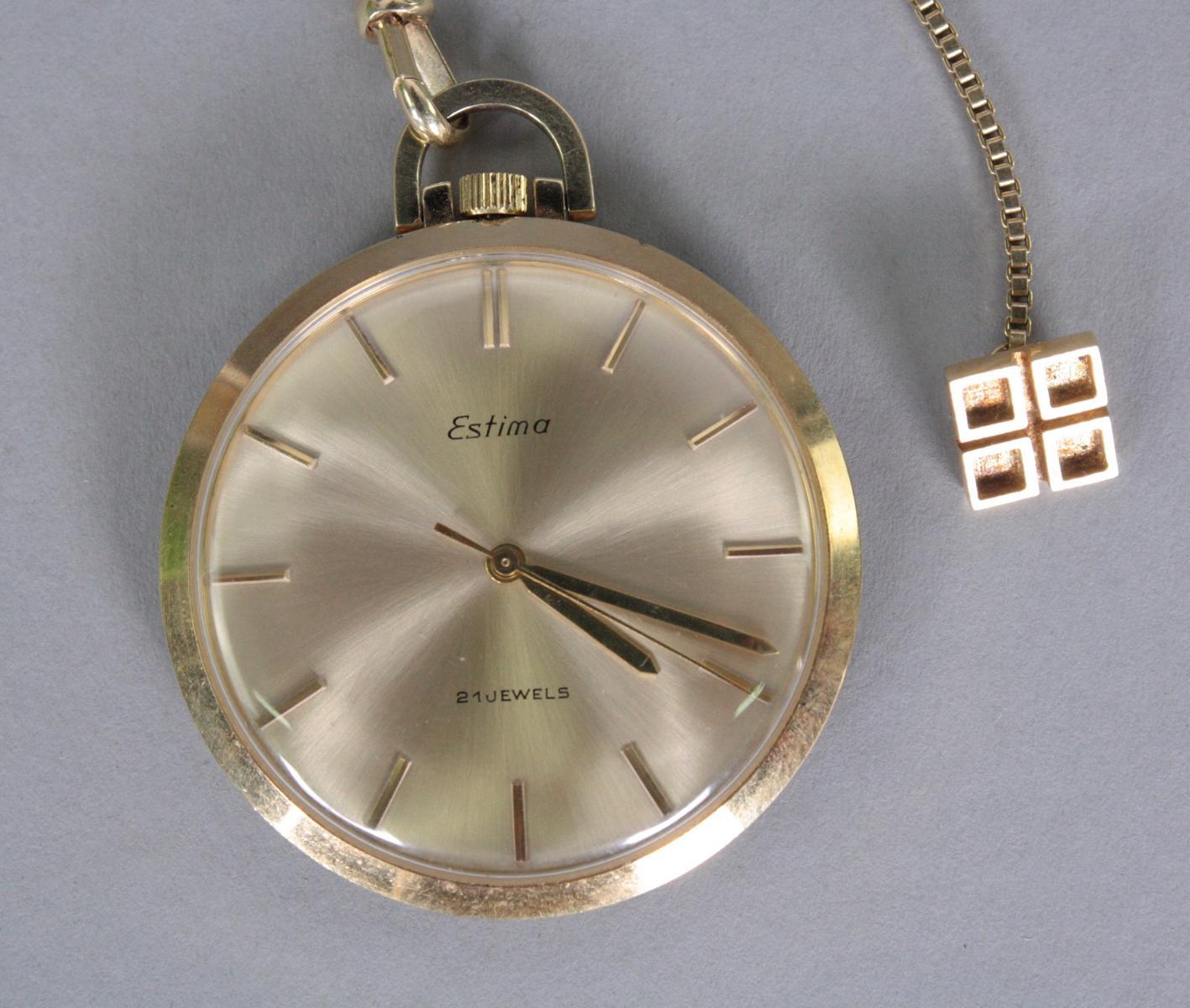 Taschenuhr mit Uhrenkette, 14 Karat Gelbgold-2